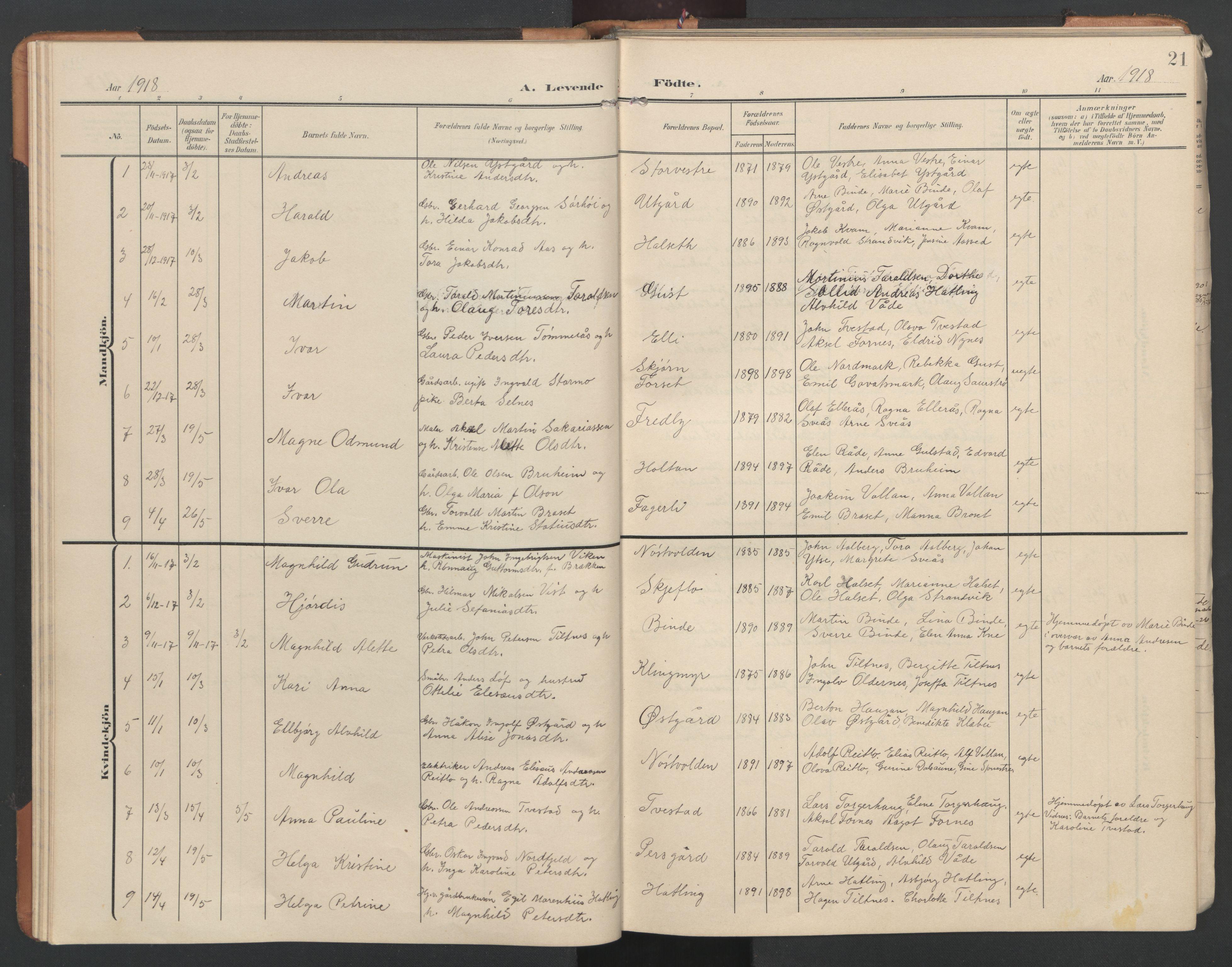 SAT, Ministerialprotokoller, klokkerbøker og fødselsregistre - Nord-Trøndelag, 746/L0455: Klokkerbok nr. 746C01, 1908-1933, s. 21