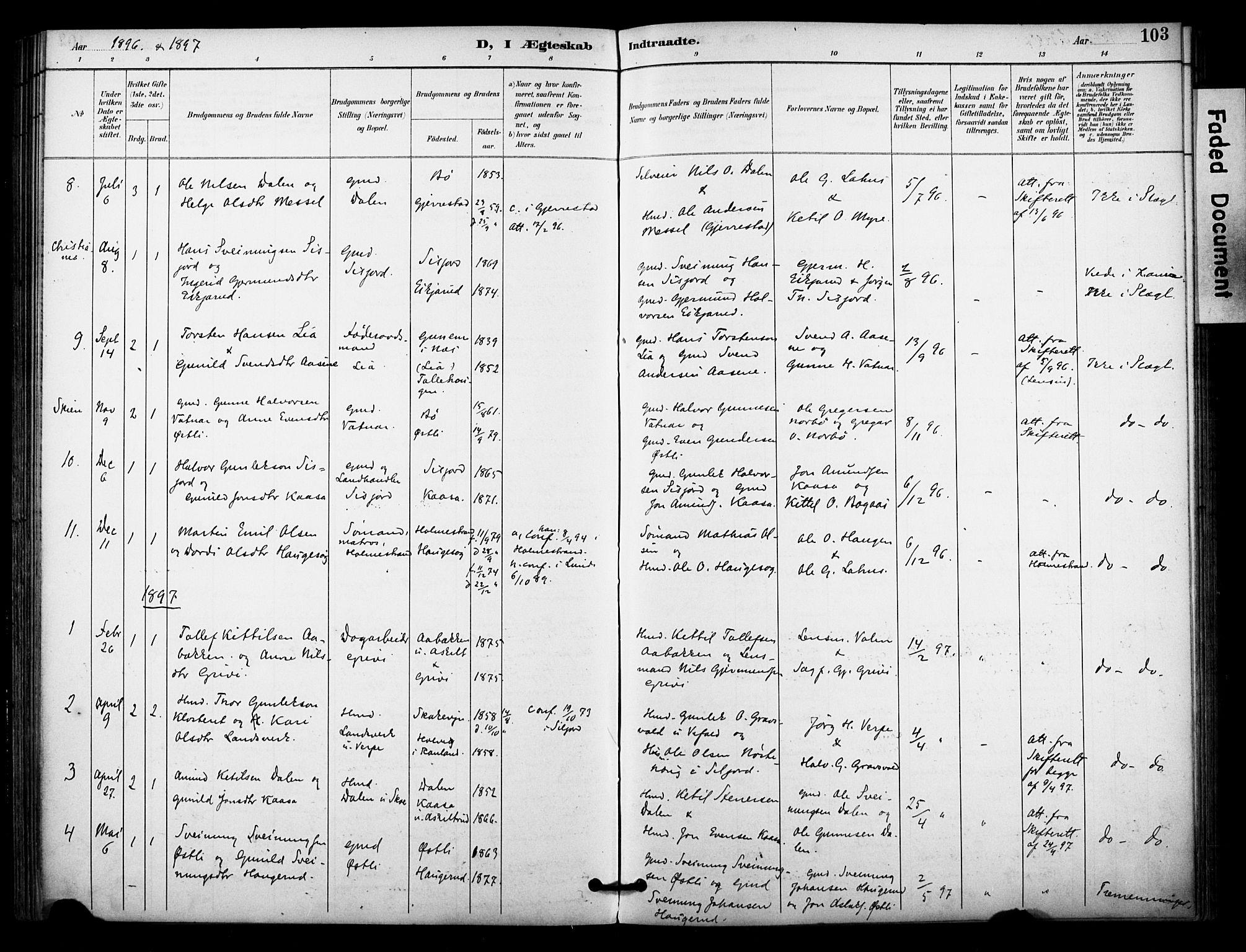 SAKO, Bø kirkebøker, F/Fa/L0011: Ministerialbok nr. 11, 1892-1900, s. 103