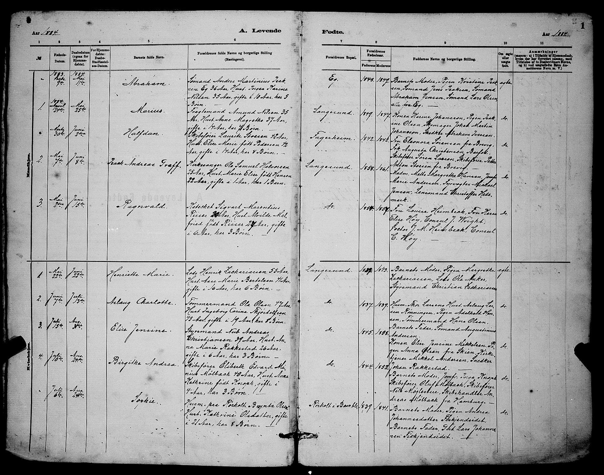 SAKO, Langesund kirkebøker, G/Ga/L0005: Klokkerbok nr. 5, 1884-1898, s. 1