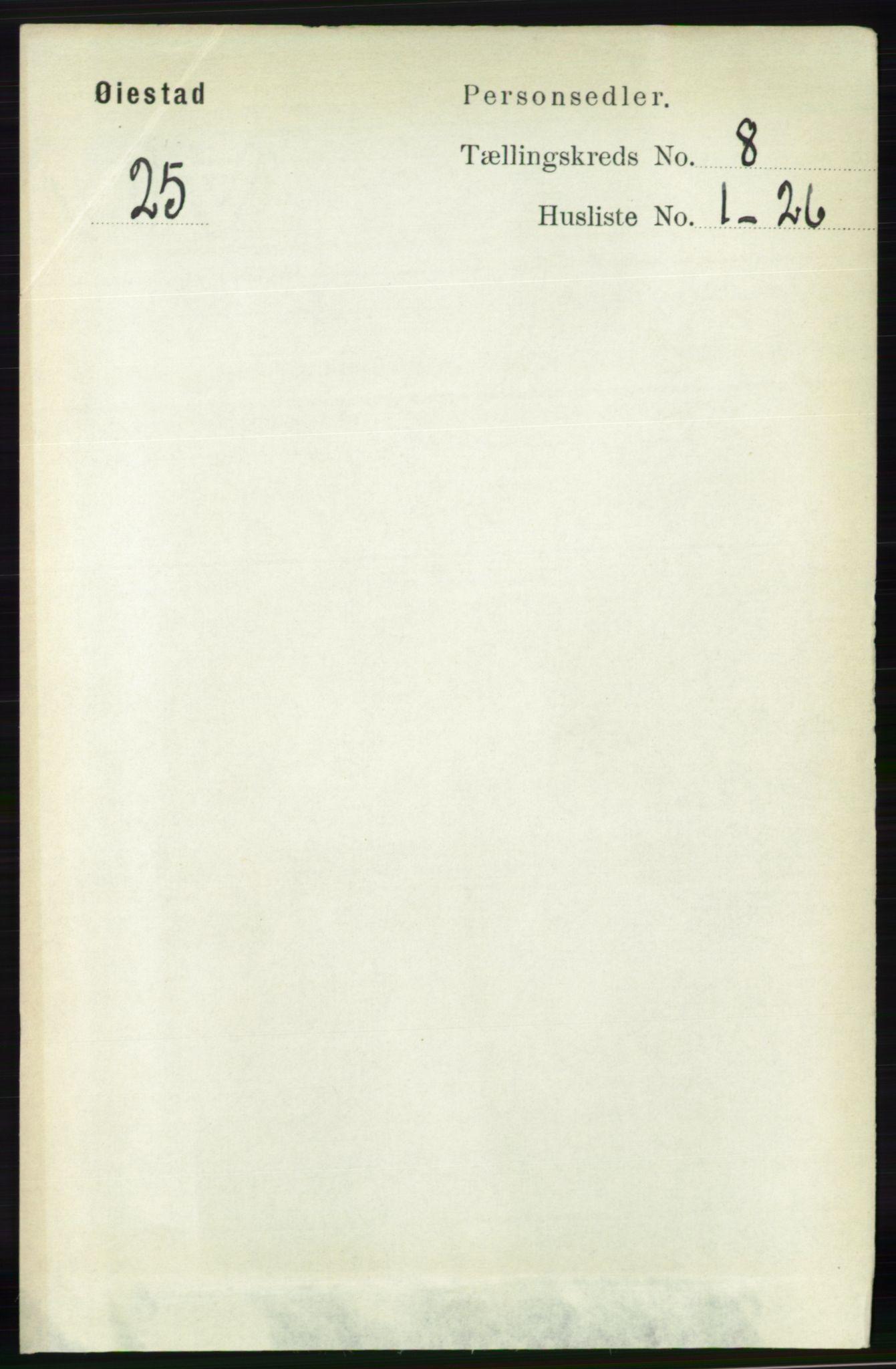 RA, Folketelling 1891 for 0920 Øyestad herred, 1891, s. 3186