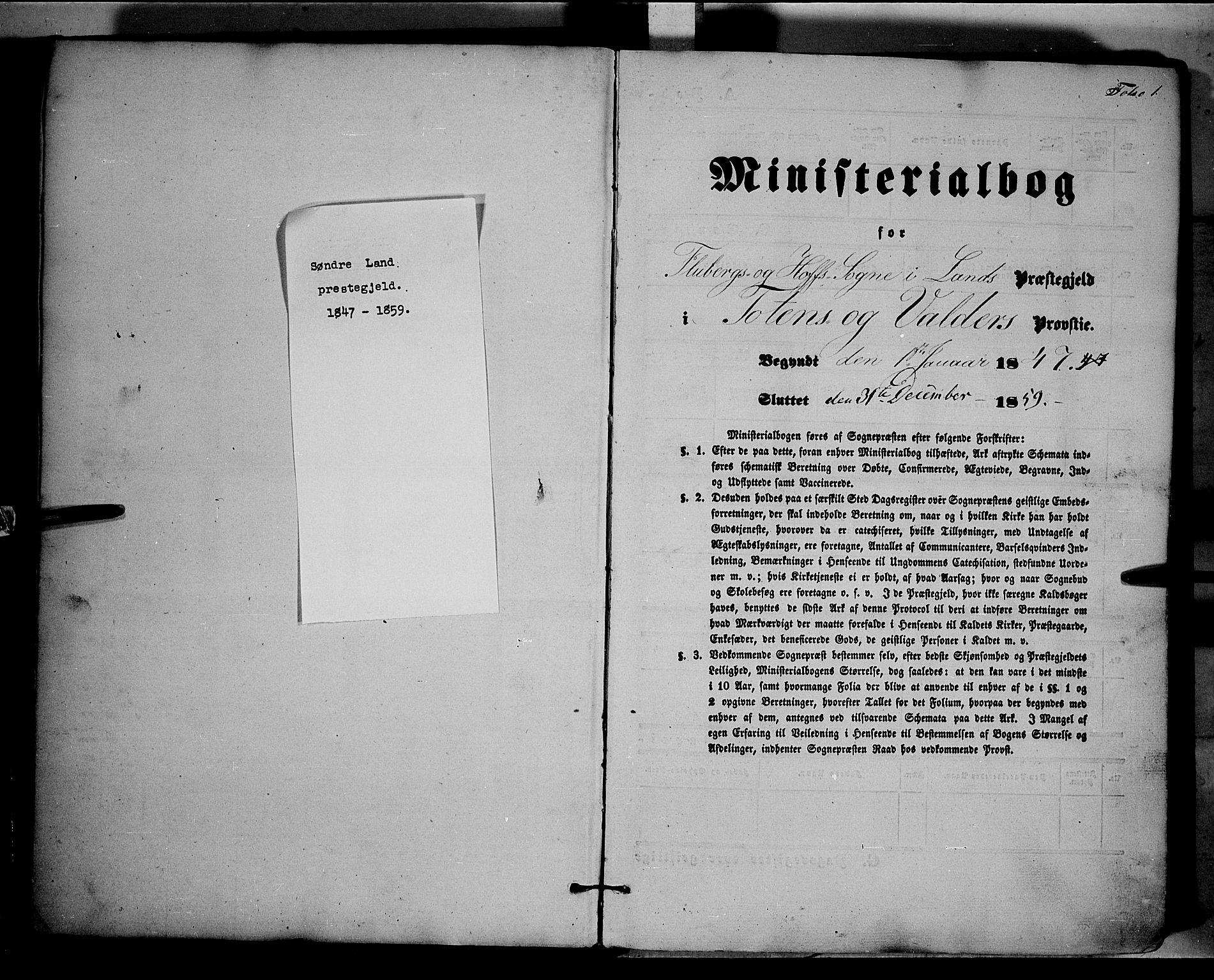 SAH, Land prestekontor, Ministerialbok nr. 9, 1847-1859, s. 1