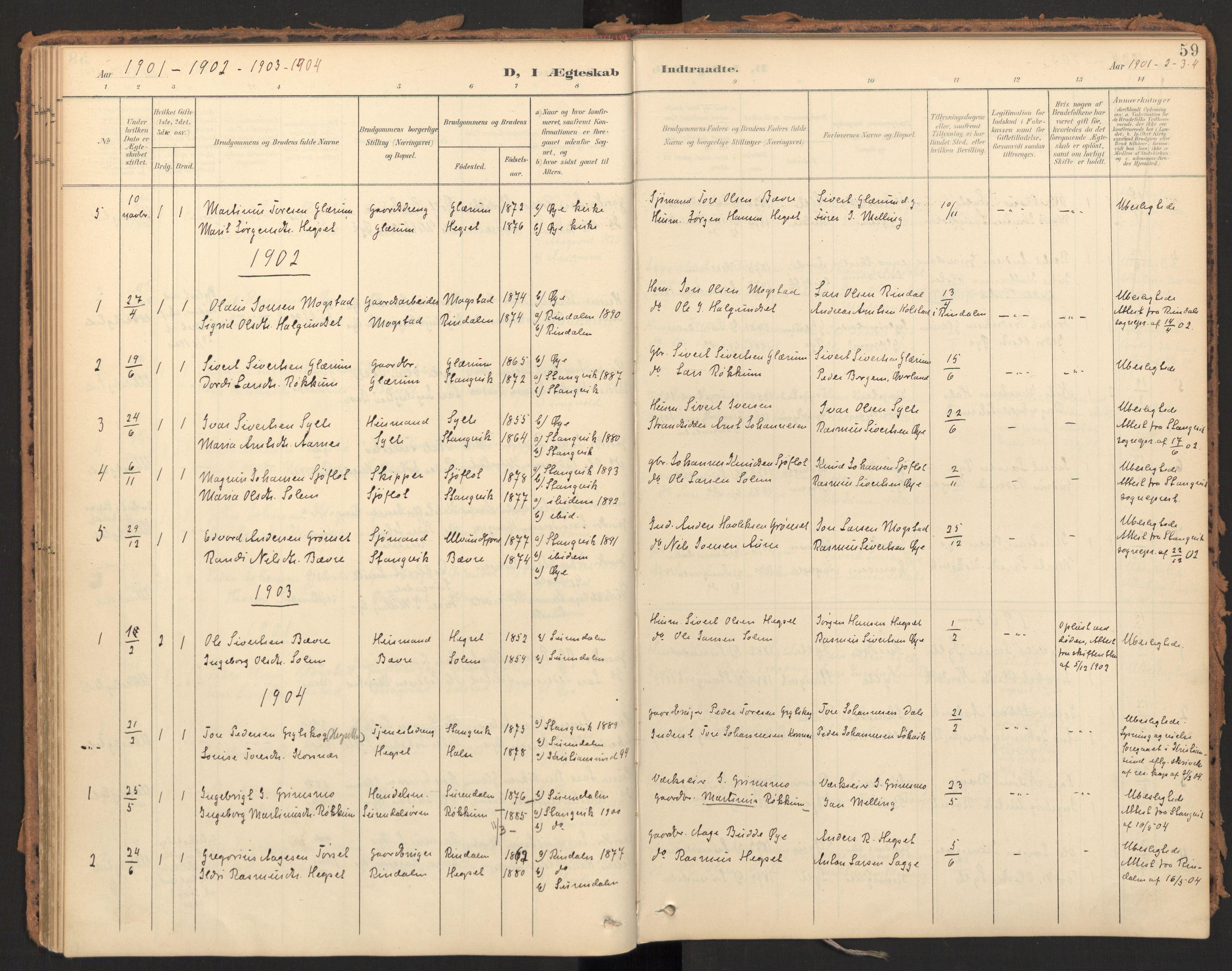SAT, Ministerialprotokoller, klokkerbøker og fødselsregistre - Møre og Romsdal, 595/L1048: Ministerialbok nr. 595A10, 1900-1917, s. 59