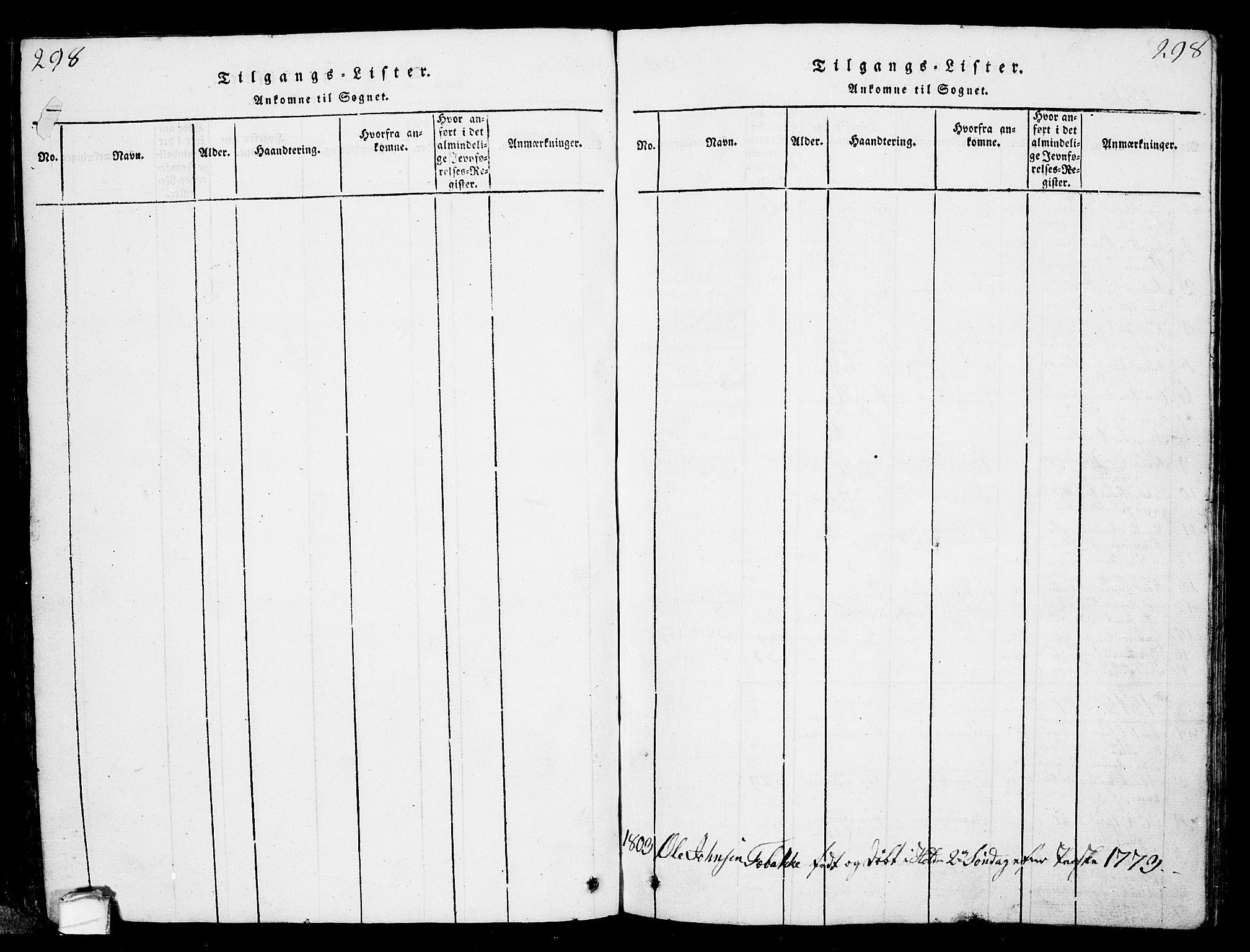 SAKO, Solum kirkebøker, G/Ga/L0001: Klokkerbok nr. I 1, 1814-1833, s. 298