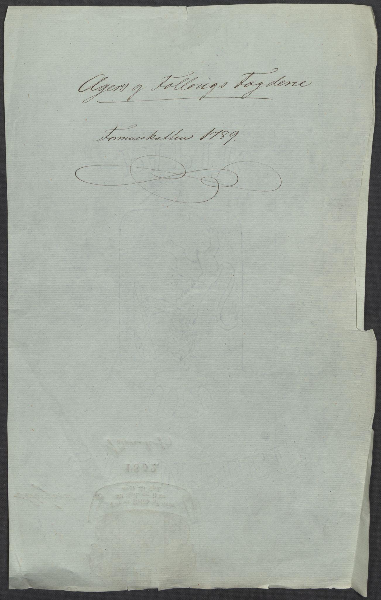 RA, Rentekammeret inntil 1814, Reviderte regnskaper, Mindre regnskaper, Rf/Rfe/L0001: Aker og Follo fogderi, 1789, s. 4