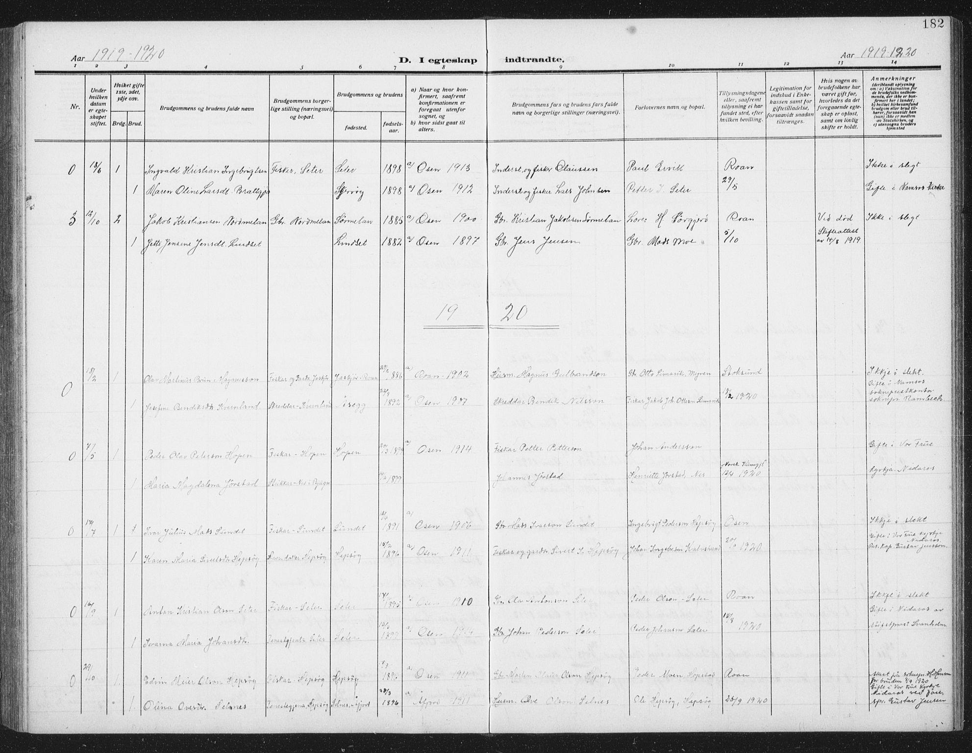 SAT, Ministerialprotokoller, klokkerbøker og fødselsregistre - Sør-Trøndelag, 658/L0727: Klokkerbok nr. 658C03, 1909-1935, s. 182