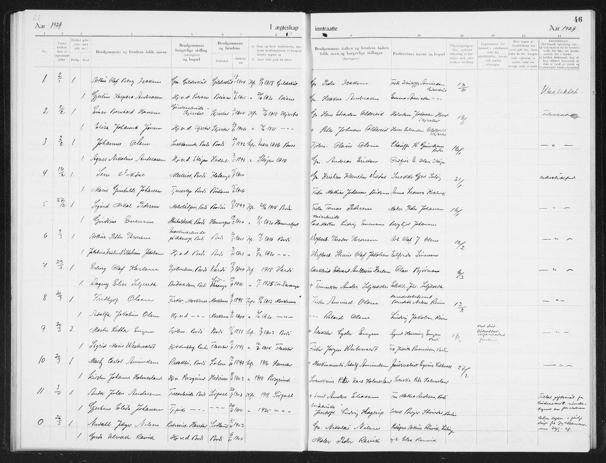 SAT, Ministerialprotokoller, klokkerbøker og fødselsregistre - Nordland, 801/L0036: Klokkerbok nr. 801C11, 1920-1934, s. 46
