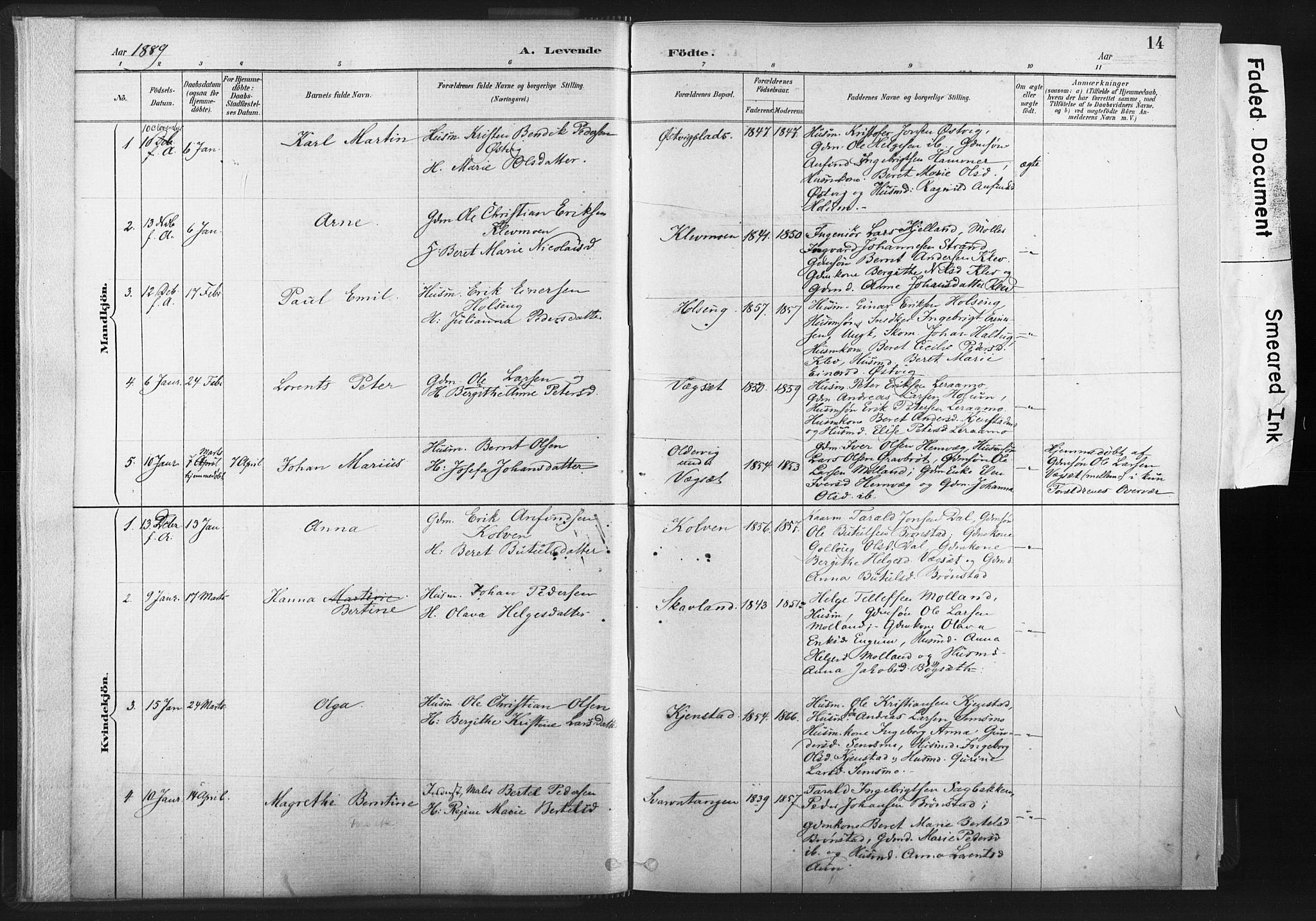 SAT, Ministerialprotokoller, klokkerbøker og fødselsregistre - Nord-Trøndelag, 749/L0474: Ministerialbok nr. 749A08, 1887-1903, s. 14