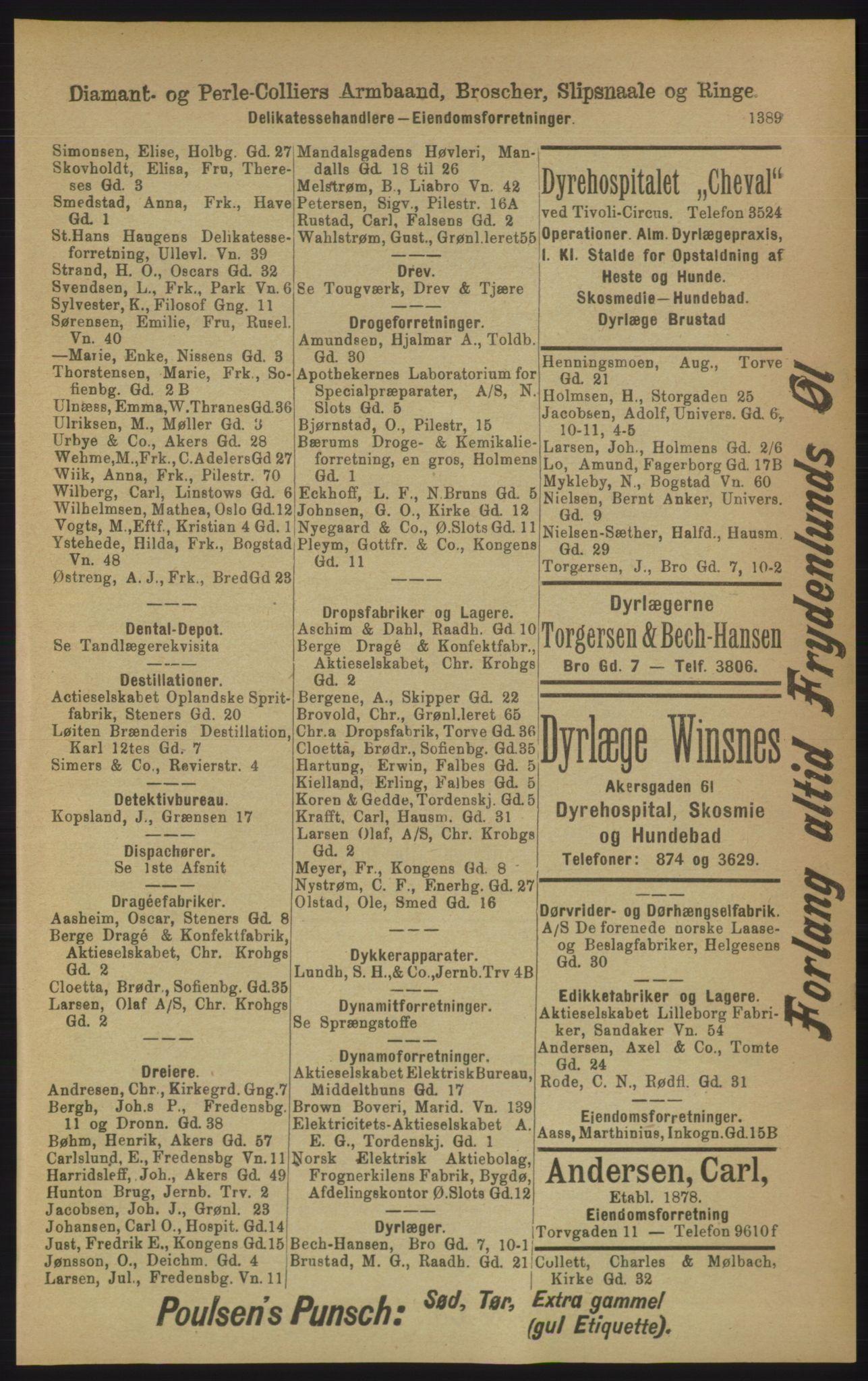 RA, Kristiania adressebok (publikasjon)*, 1906, s. 1389