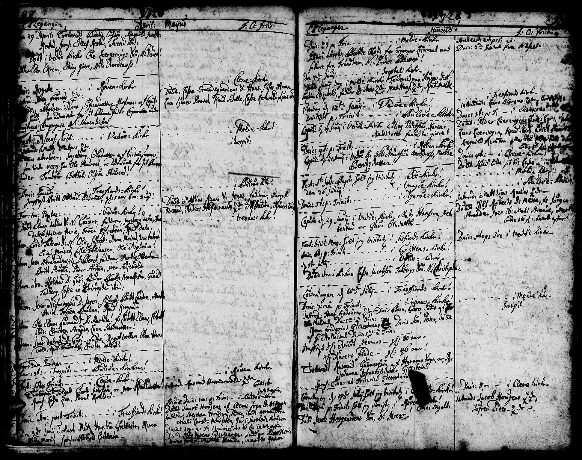 SAT, Ministerialprotokoller, klokkerbøker og fødselsregistre - Møre og Romsdal, 547/L0599: Ministerialbok nr. 547A01, 1721-1764, s. 94-95