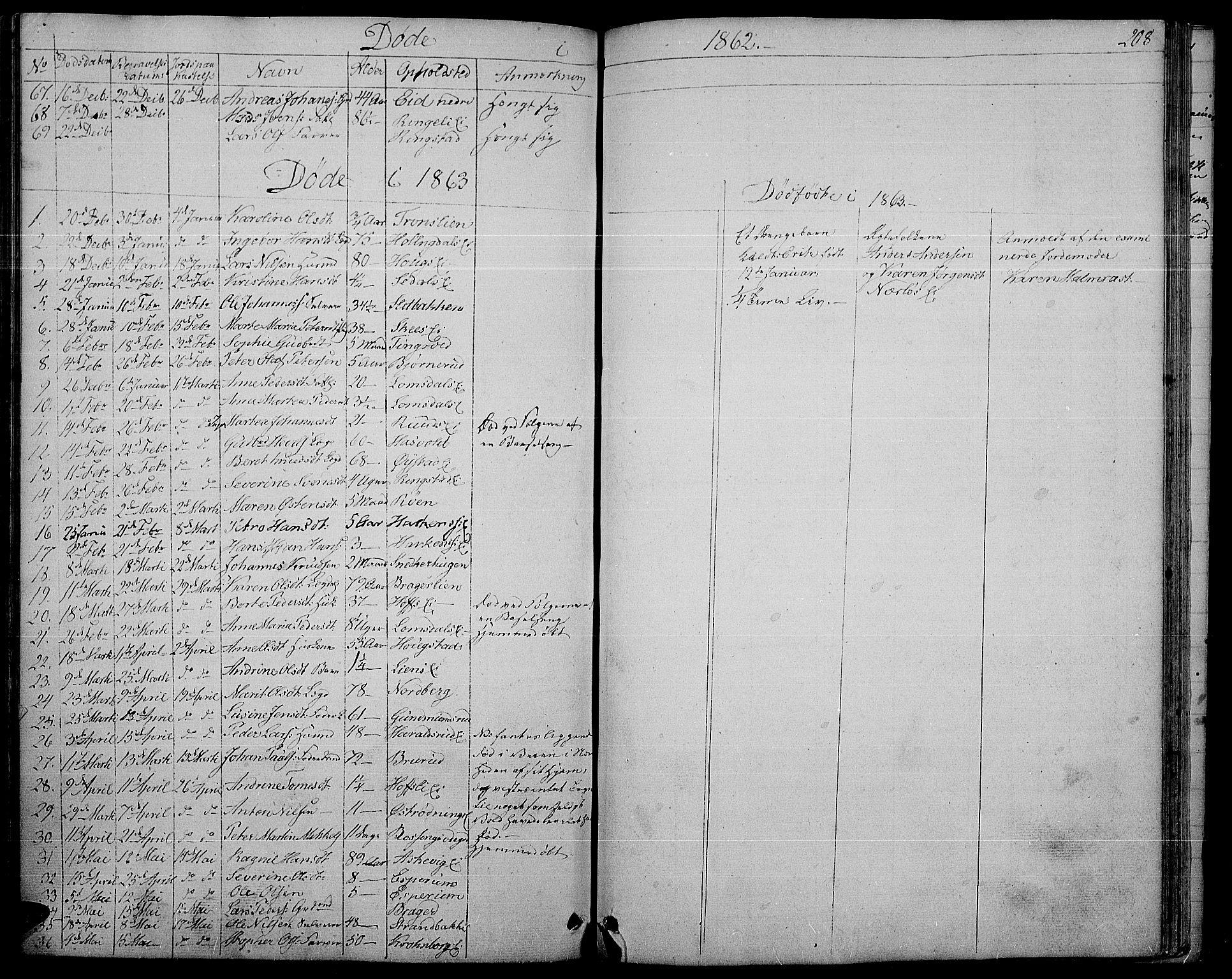SAH, Søndre Land prestekontor, L/L0001: Klokkerbok nr. 1, 1849-1883, s. 208