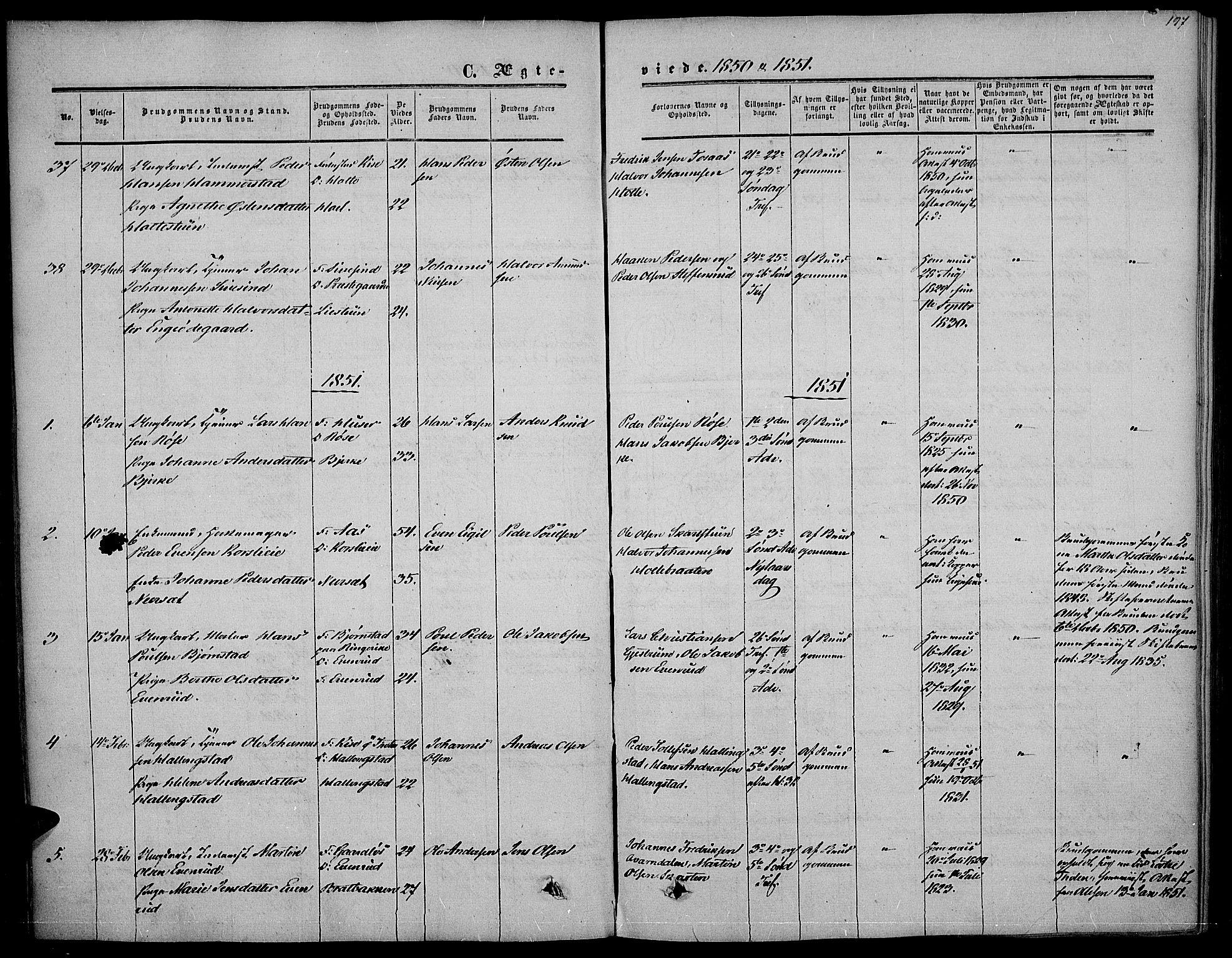 SAH, Vestre Toten prestekontor, Ministerialbok nr. 5, 1850-1855, s. 197