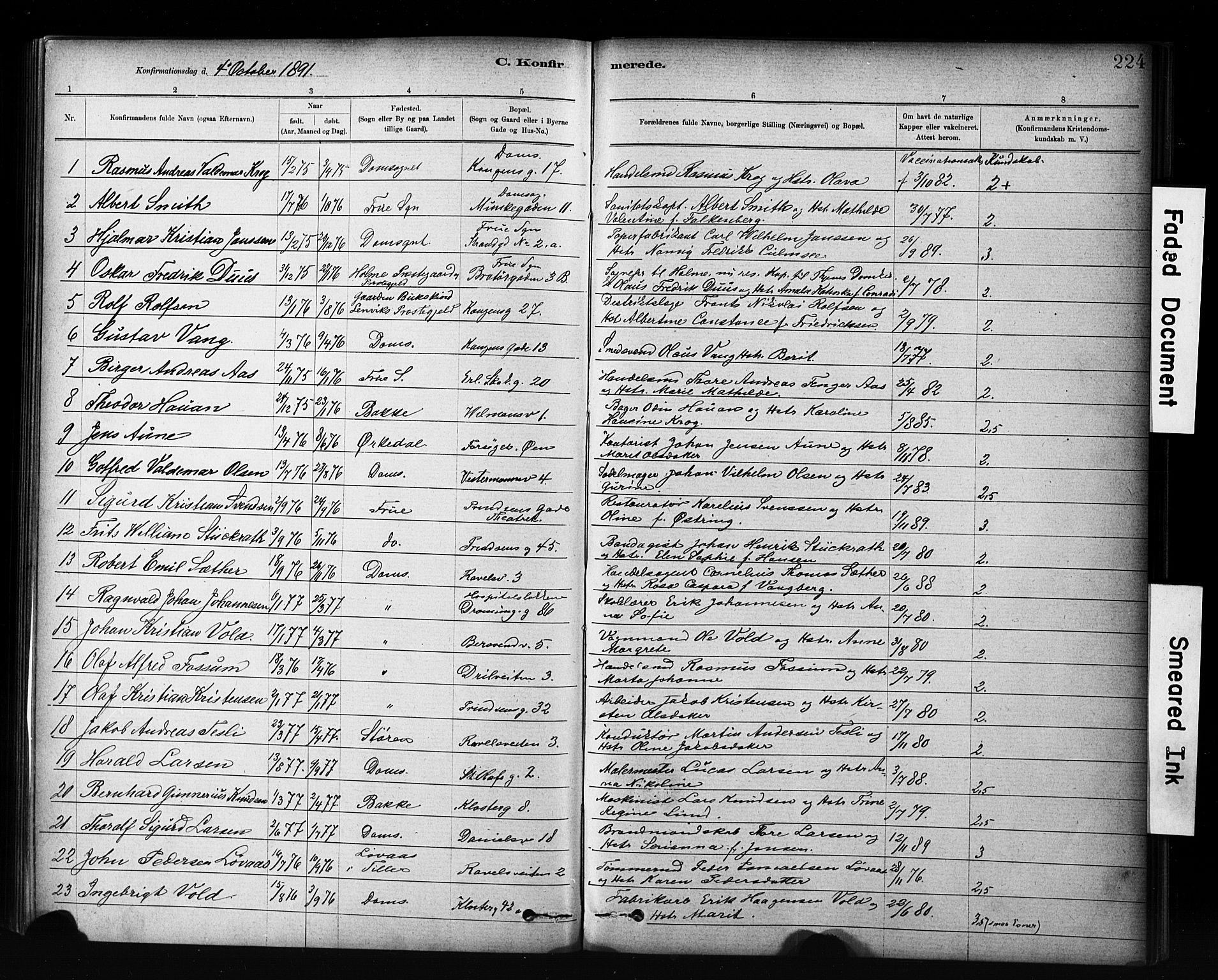 SAT, Ministerialprotokoller, klokkerbøker og fødselsregistre - Sør-Trøndelag, 601/L0071: Residerende kapellans bok nr. 601B04, 1882-1931, s. 224