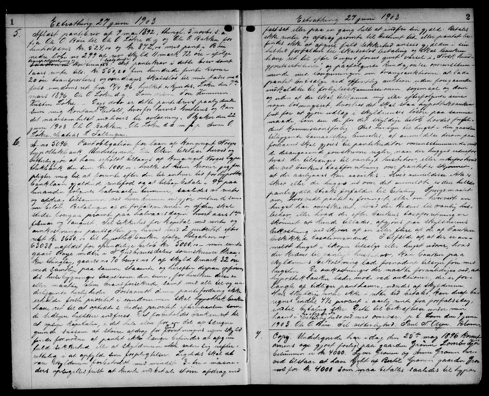 SAH, Nord-Gudbrandsdal tingrett, H/Hb/Hba/L0015: Pantebok nr. 15, 1903-1907, s. 1-2