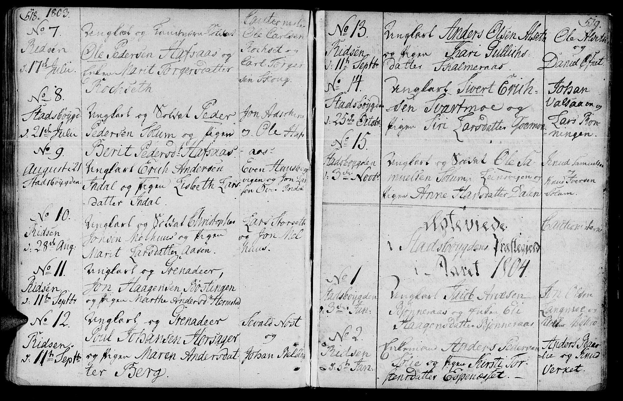 SAT, Ministerialprotokoller, klokkerbøker og fødselsregistre - Sør-Trøndelag, 646/L0606: Ministerialbok nr. 646A04, 1791-1805, s. 518-519