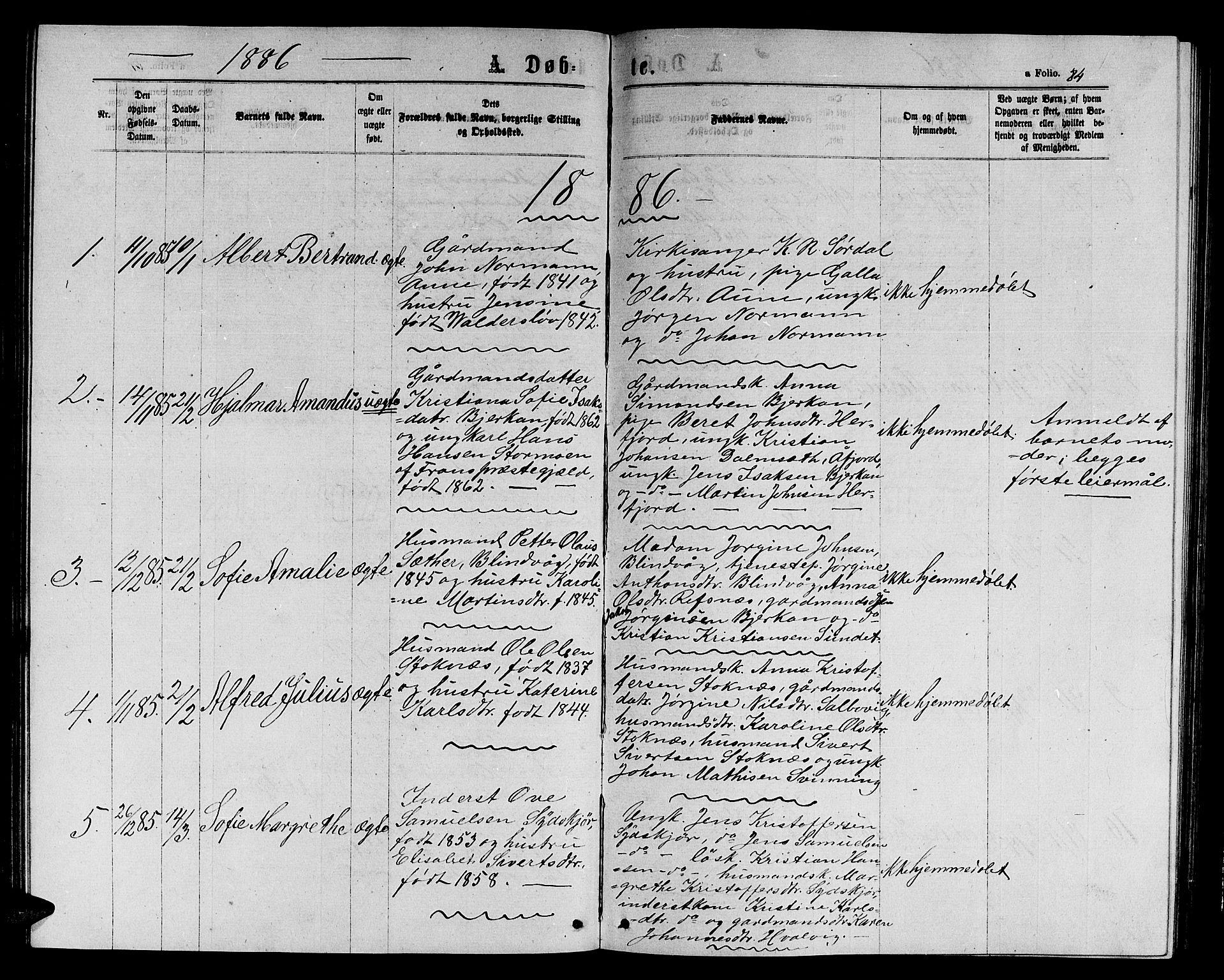 SAT, Ministerialprotokoller, klokkerbøker og fødselsregistre - Sør-Trøndelag, 656/L0695: Klokkerbok nr. 656C01, 1867-1889, s. 84