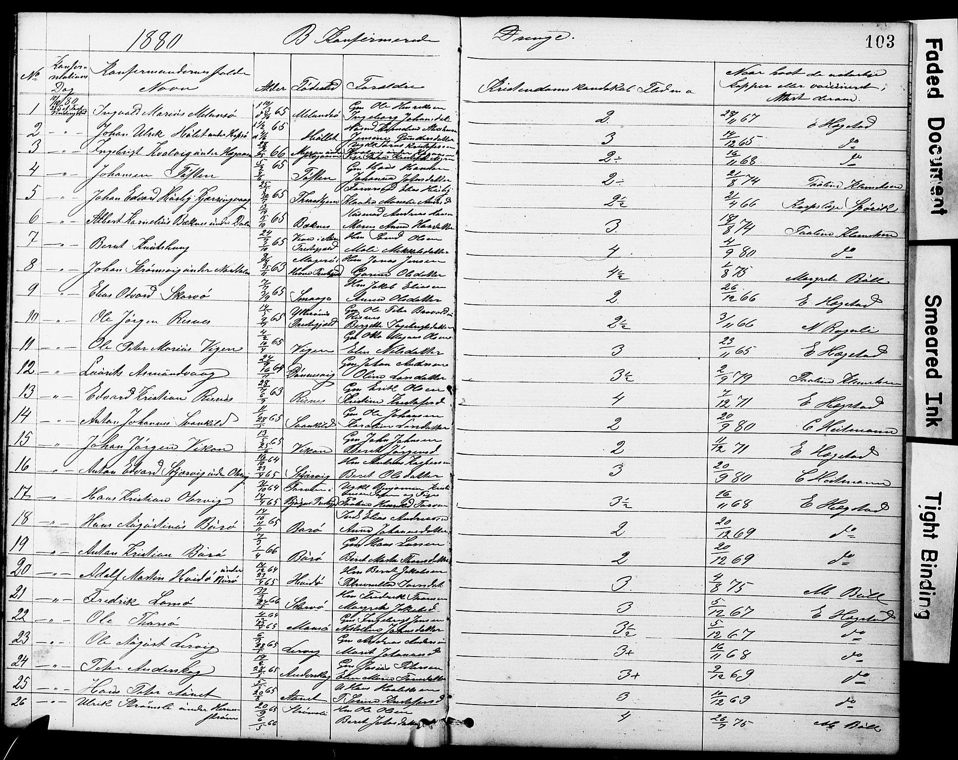 SAT, Ministerialprotokoller, klokkerbøker og fødselsregistre - Sør-Trøndelag, 634/L0541: Klokkerbok nr. 634C03, 1874-1891, s. 103