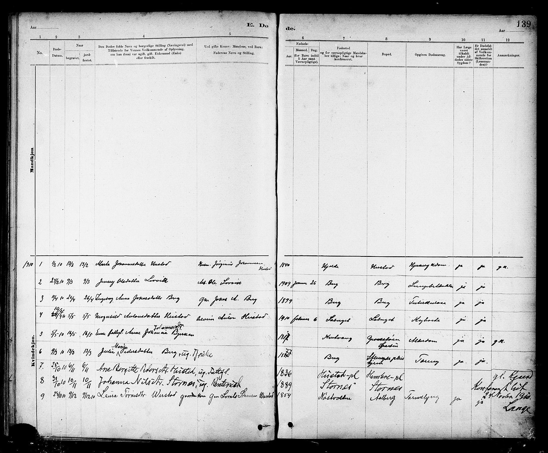 SAT, Ministerialprotokoller, klokkerbøker og fødselsregistre - Nord-Trøndelag, 732/L0318: Klokkerbok nr. 732C02, 1881-1911, s. 139