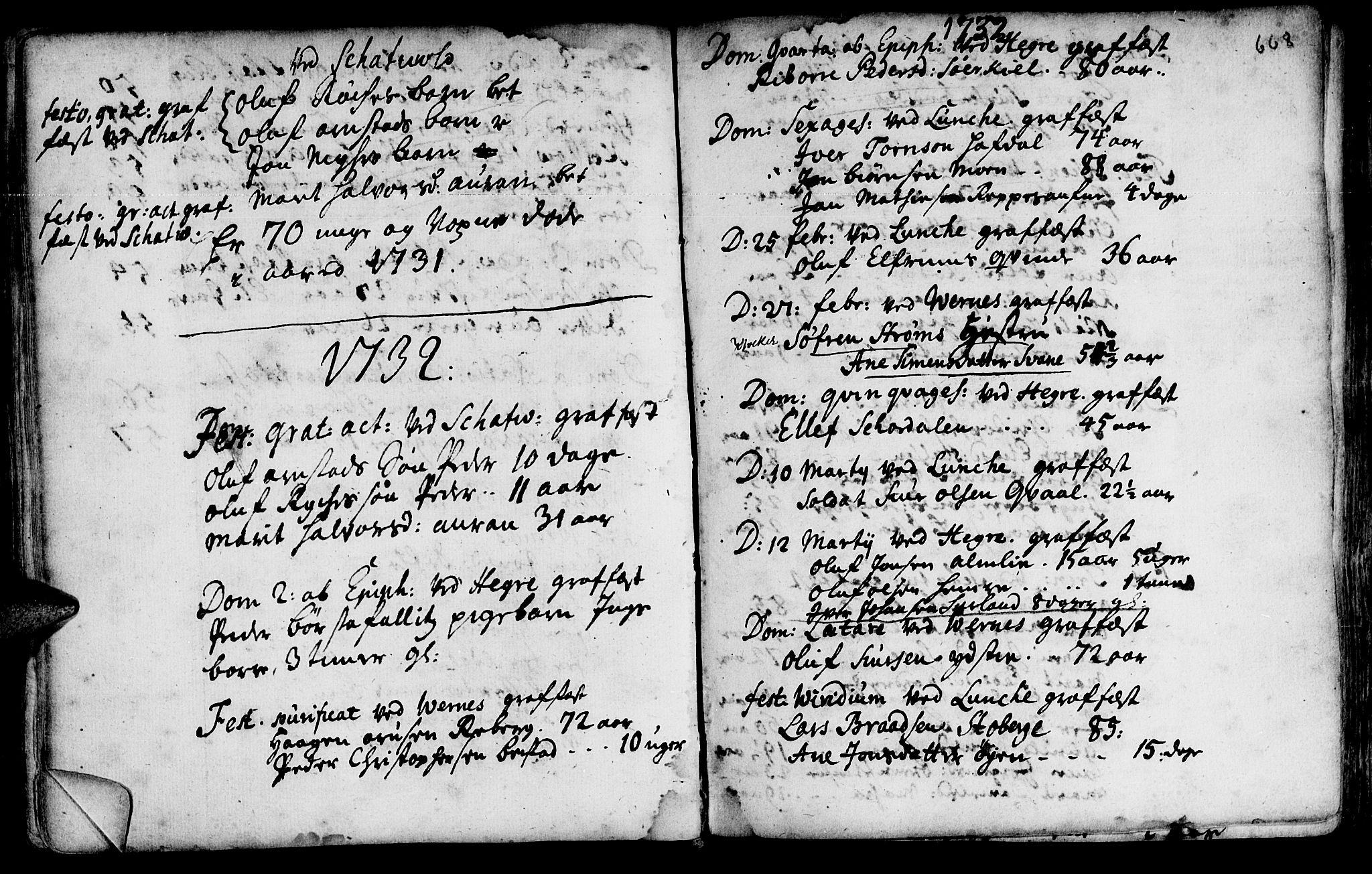 SAT, Ministerialprotokoller, klokkerbøker og fødselsregistre - Nord-Trøndelag, 709/L0055: Ministerialbok nr. 709A03, 1730-1739, s. 667-668