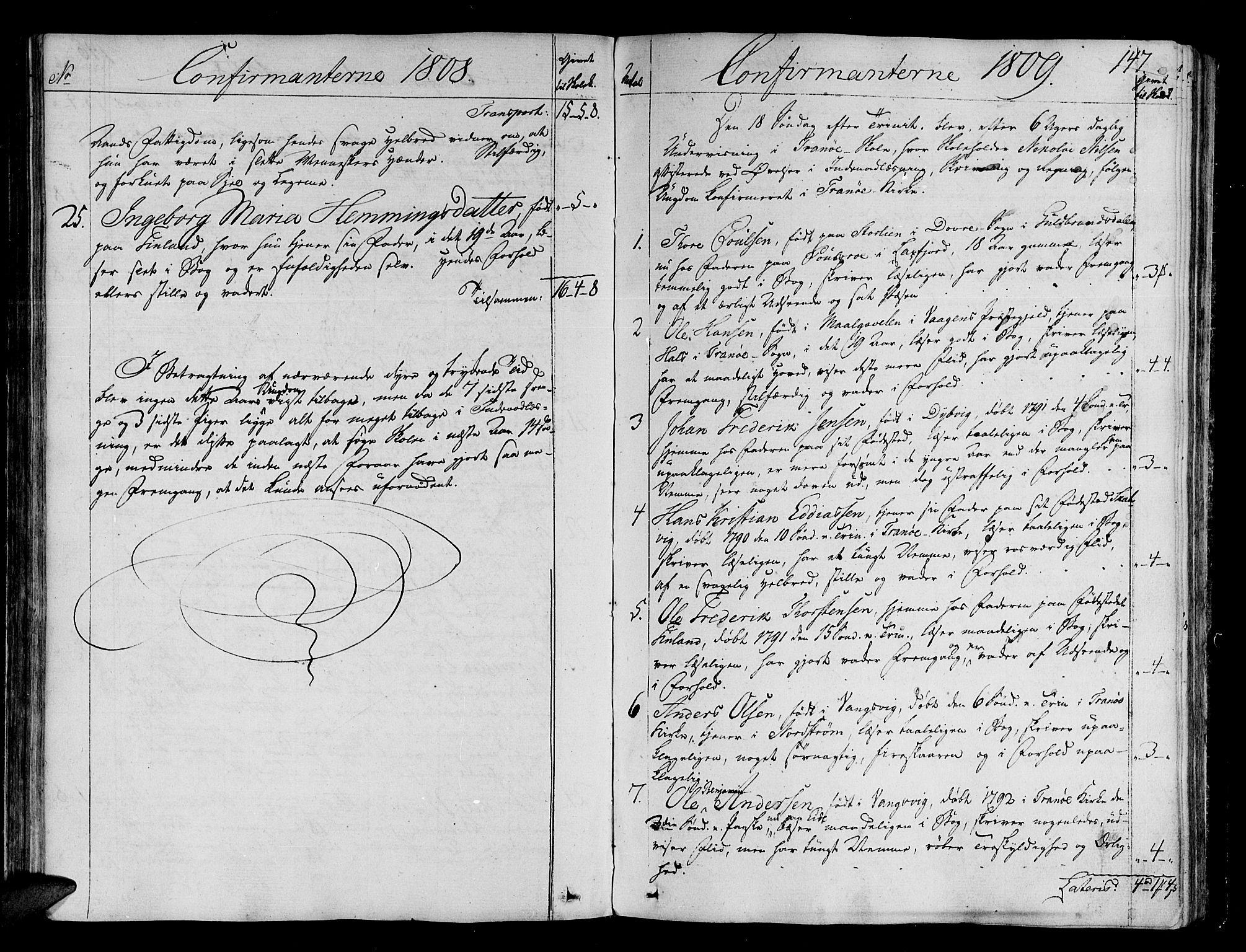 SATØ, Tranøy sokneprestkontor, I/Ia/Iaa/L0003kirke: Ministerialbok nr. 3, 1807-1820, s. 147