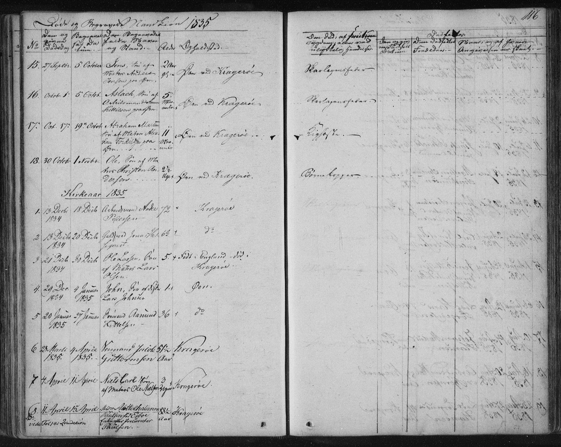 SAKO, Kragerø kirkebøker, F/Fa/L0005: Ministerialbok nr. 5, 1832-1847, s. 116