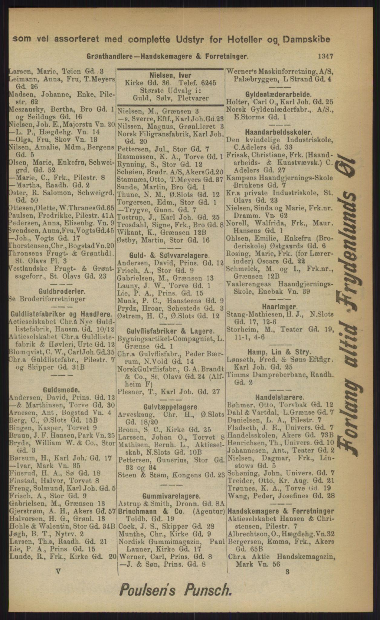 RA, Kristiania adressebok (publikasjon)*, 1903, s. 1347