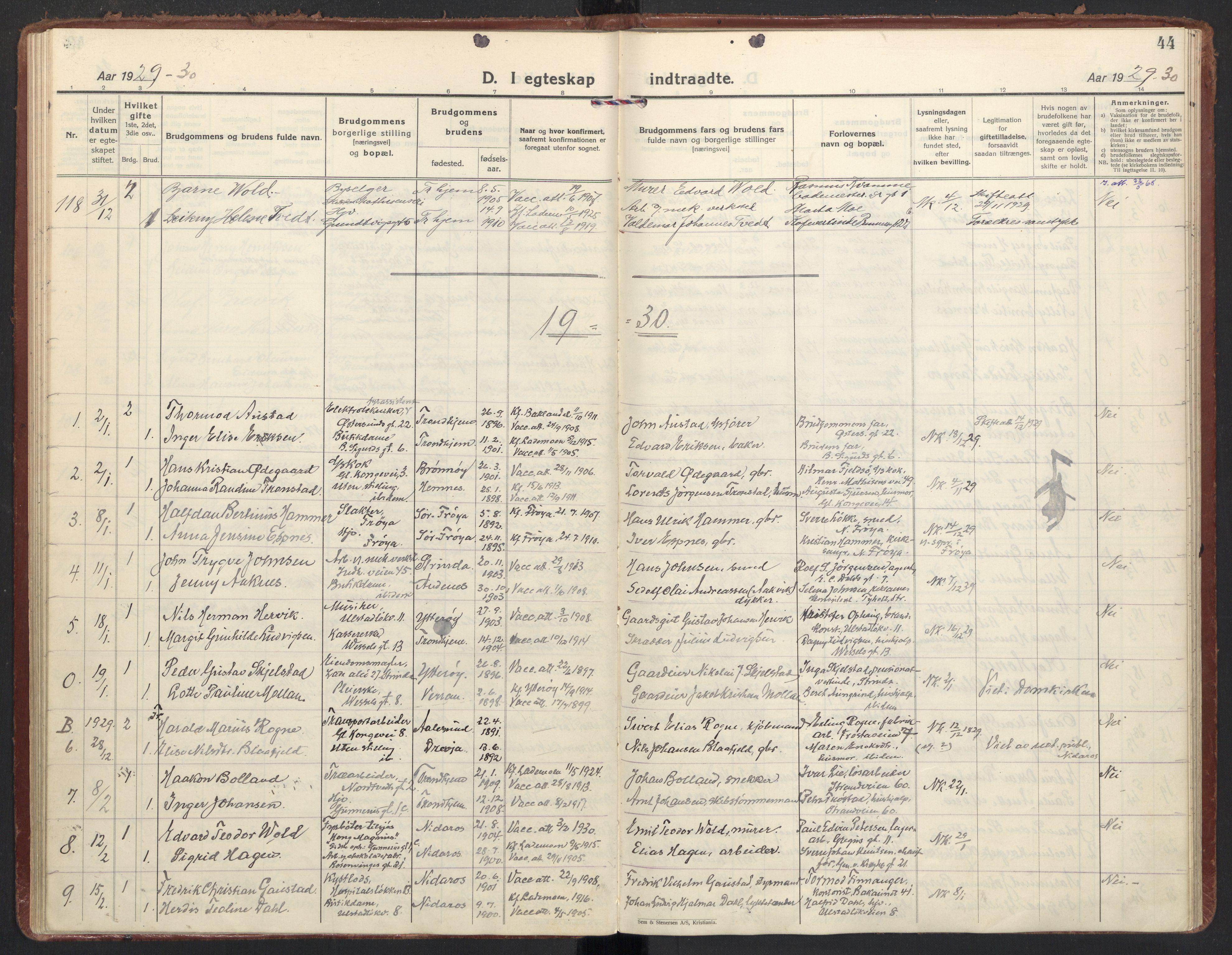SAT, Ministerialprotokoller, klokkerbøker og fødselsregistre - Sør-Trøndelag, 605/L0249: Ministerialbok nr. 605A11, 1925-1936, s. 44