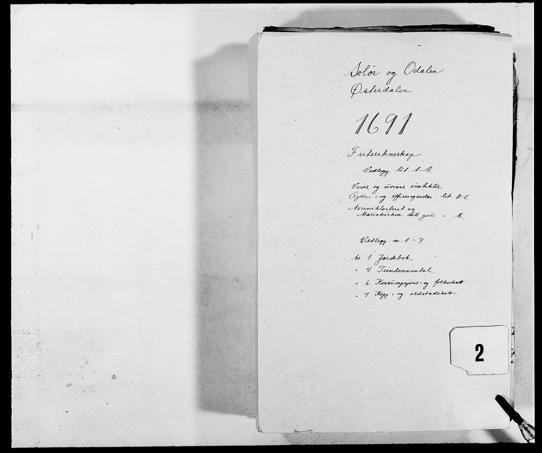 RA, Rentekammeret inntil 1814, Reviderte regnskaper, Fogderegnskap, R13/L0829: Fogderegnskap Solør, Odal og Østerdal, 1691, s. 1