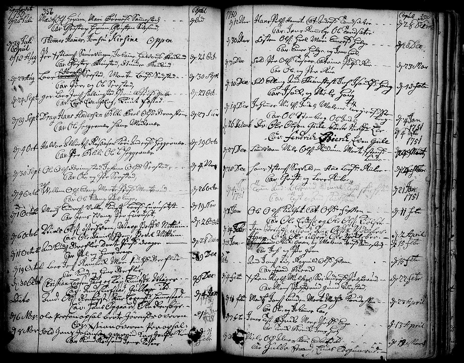 SAH, Toten prestekontor, Ministerialbok nr. 3, 1734-1751, s. 356-357