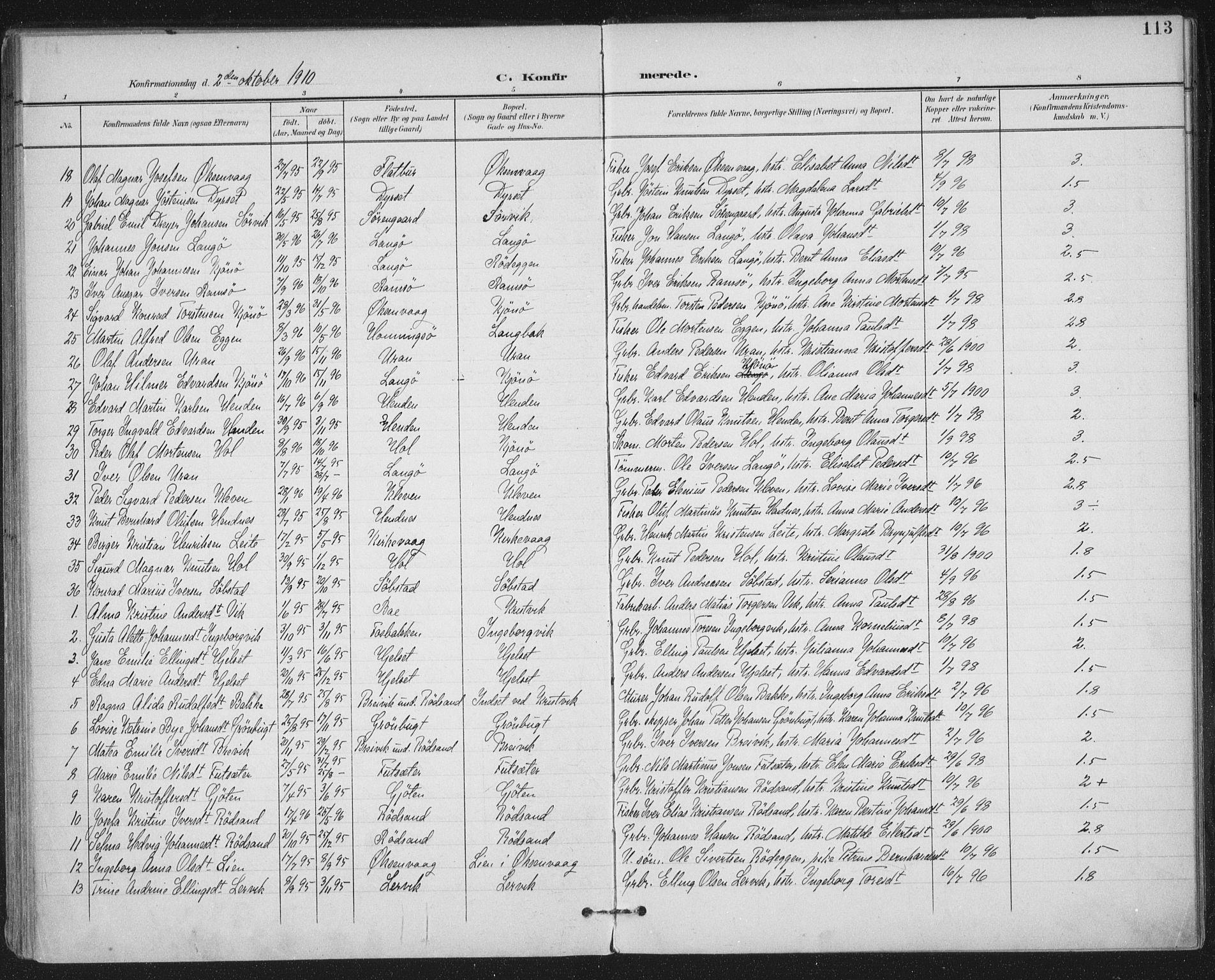SAT, Ministerialprotokoller, klokkerbøker og fødselsregistre - Møre og Romsdal, 569/L0820: Ministerialbok nr. 569A06, 1900-1911, s. 113
