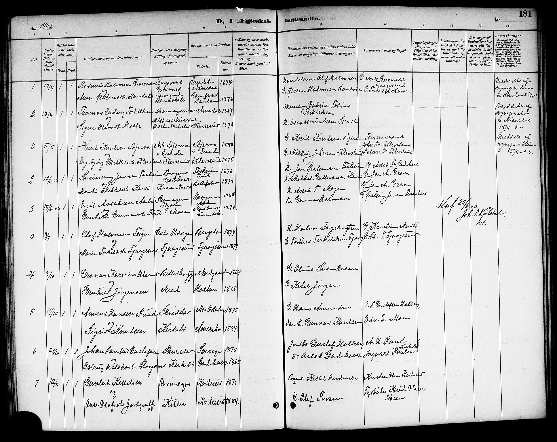 SAKO, Kviteseid kirkebøker, G/Ga/L0002: Klokkerbok nr. I 2, 1893-1918, s. 181