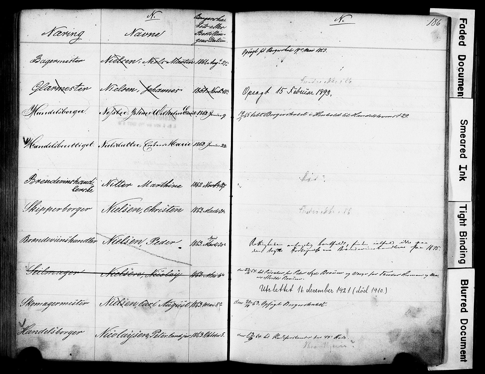 SAO, Kristiania magistrat, F/Fb/L0004: Borgerrulle, 1860-1879, s. 188