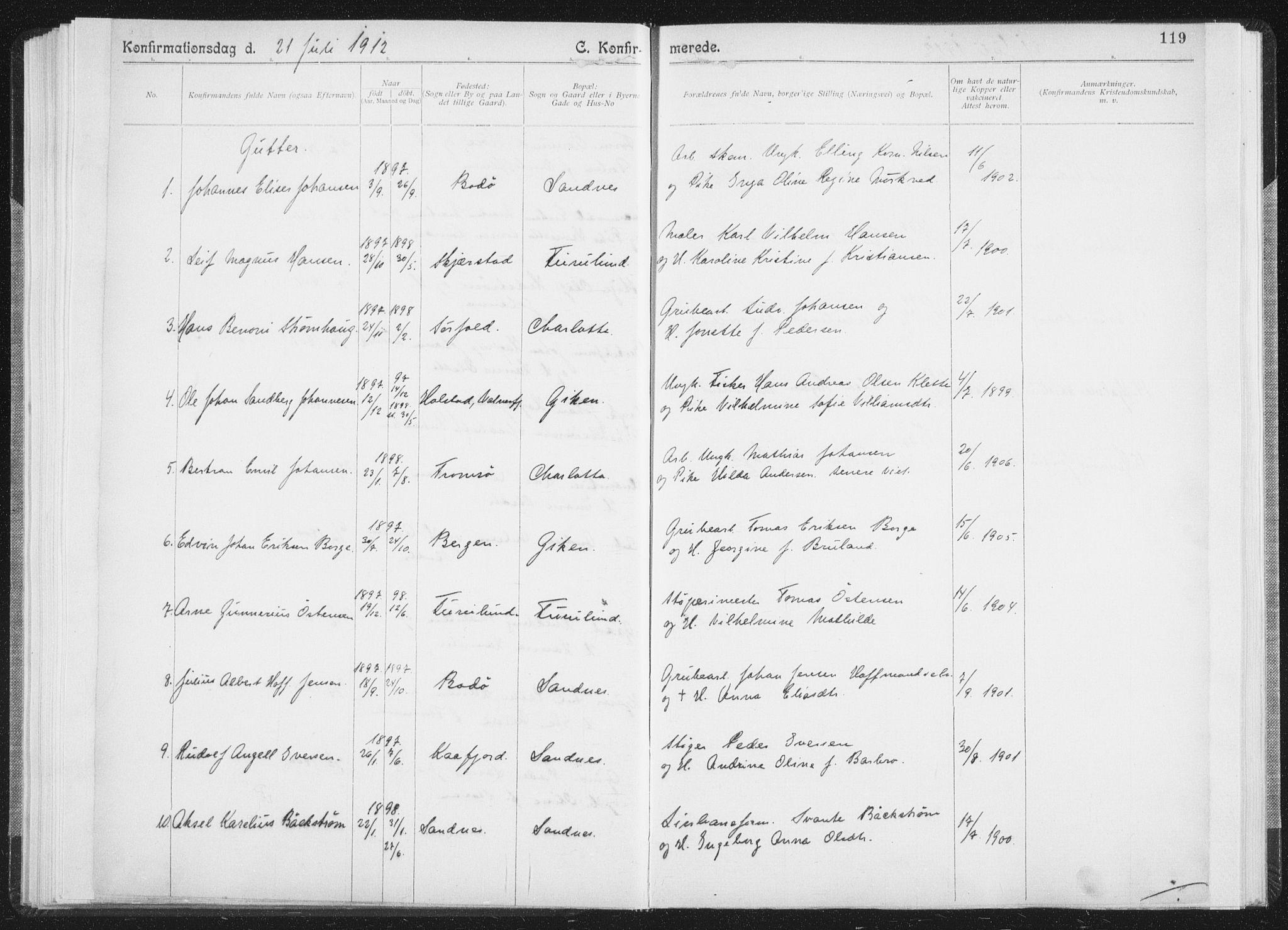 SAT, Ministerialprotokoller, klokkerbøker og fødselsregistre - Nordland, 850/L0711: Residerende kapellans bok nr. 850B01, 1902-1915, s. 119