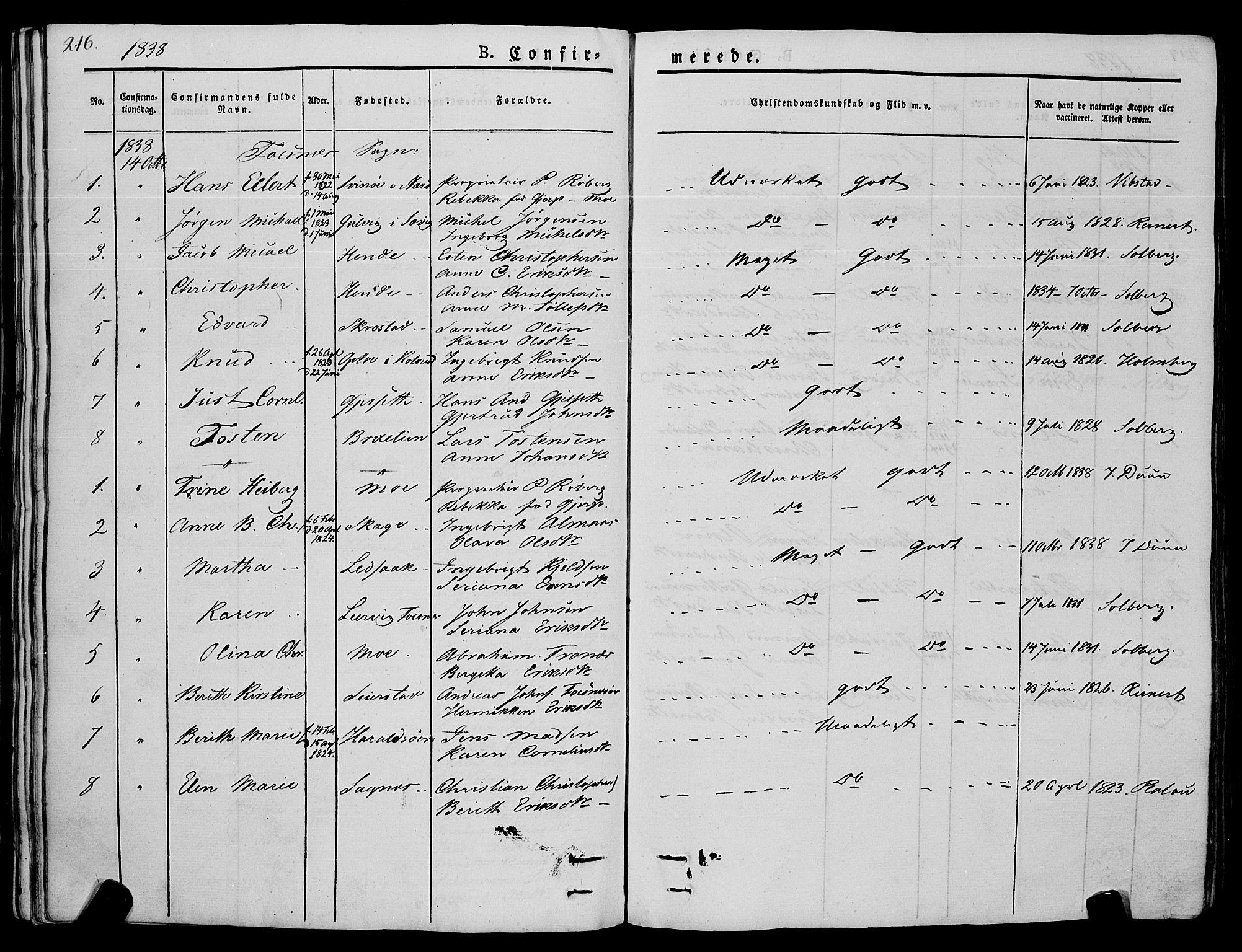 SAT, Ministerialprotokoller, klokkerbøker og fødselsregistre - Nord-Trøndelag, 773/L0614: Ministerialbok nr. 773A05, 1831-1856, s. 216