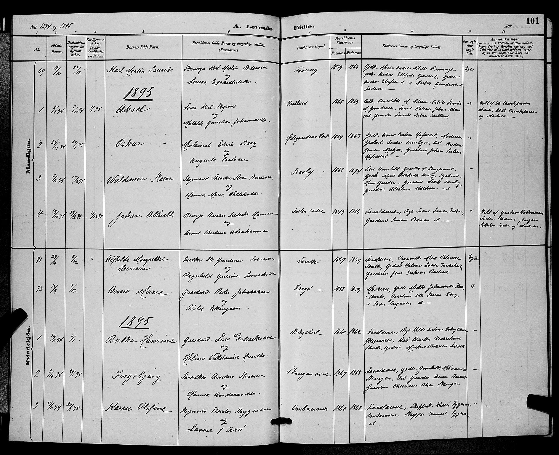 SAKO, Bamble kirkebøker, G/Ga/L0009: Klokkerbok nr. I 9, 1888-1900, s. 101