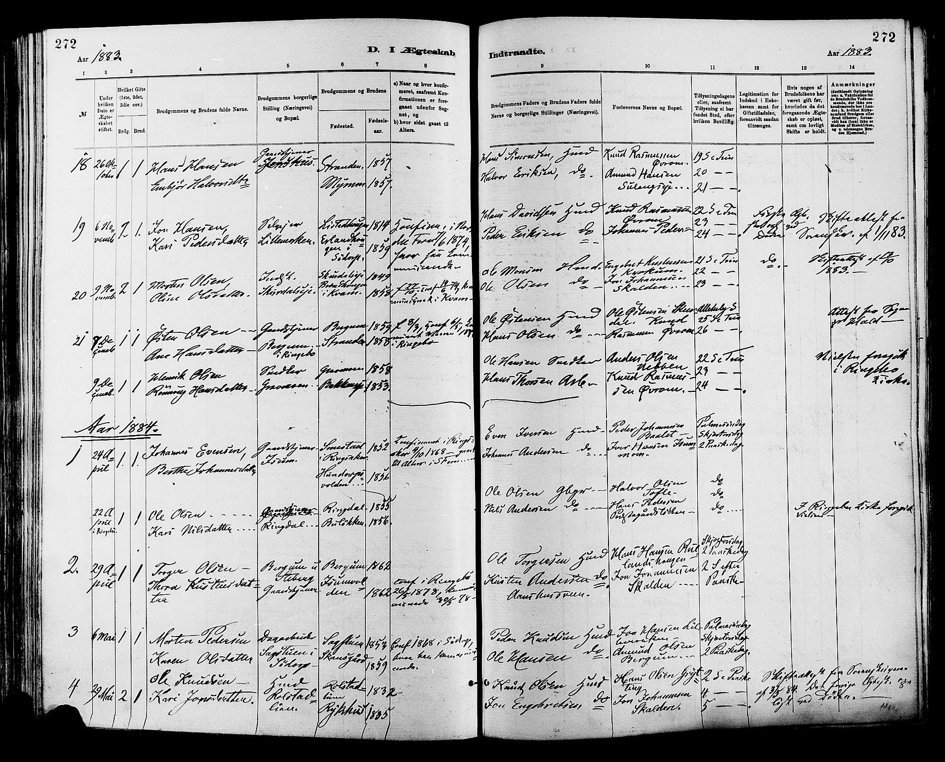 SAH, Sør-Fron prestekontor, H/Ha/Haa/L0003: Ministerialbok nr. 3, 1881-1897, s. 272