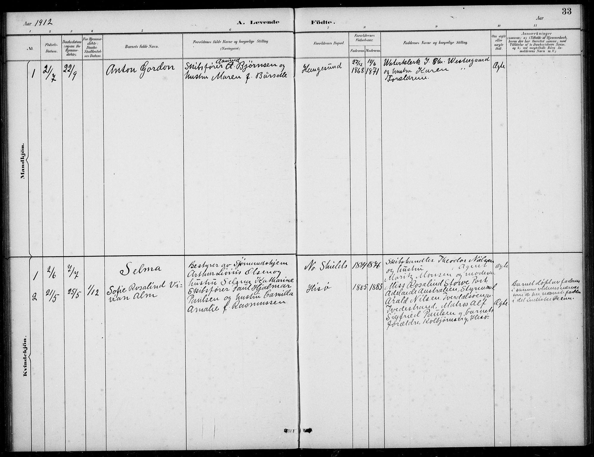 SAB, Den Norske Sjømannsmisjon i utlandet*, Ministerialbok nr. A 2, 1883-1936, s. 33