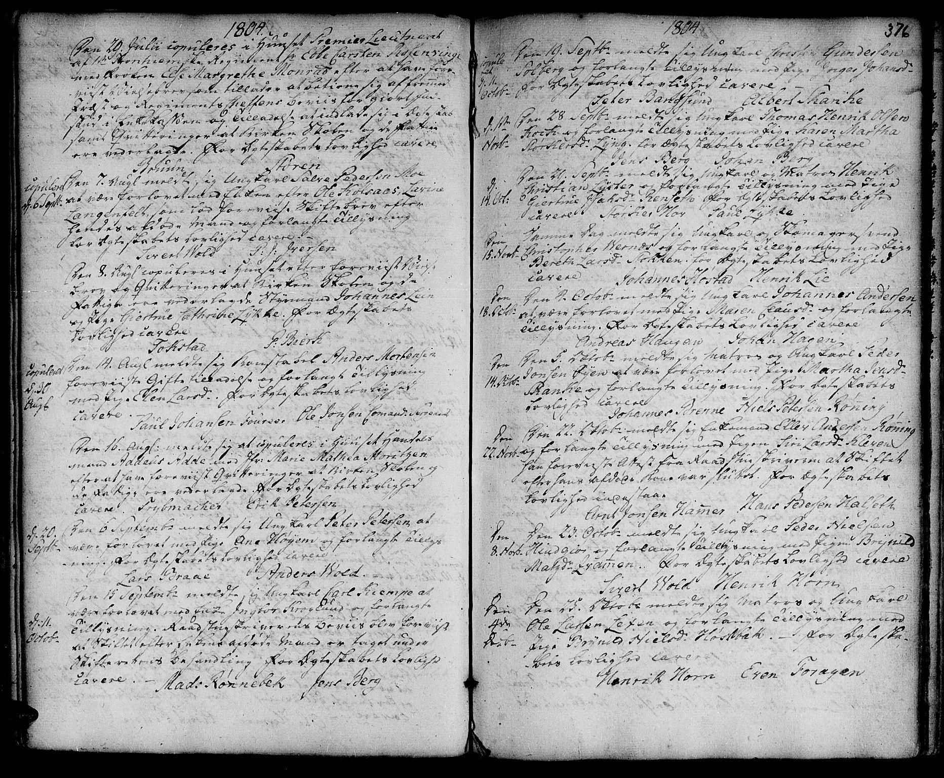 SAT, Ministerialprotokoller, klokkerbøker og fødselsregistre - Sør-Trøndelag, 601/L0038: Ministerialbok nr. 601A06, 1766-1877, s. 376