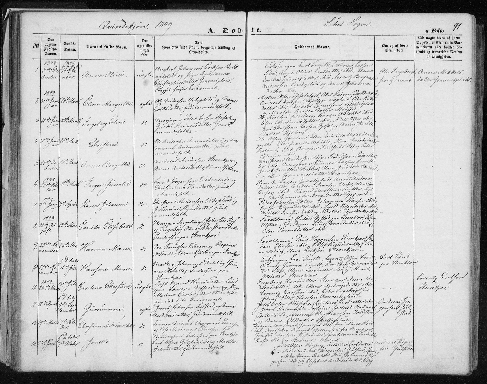 SAT, Ministerialprotokoller, klokkerbøker og fødselsregistre - Nord-Trøndelag, 735/L0342: Ministerialbok nr. 735A07 /2, 1849-1862, s. 91