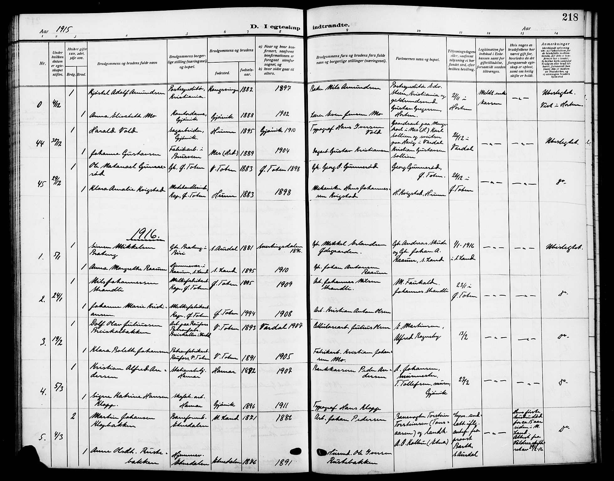 SAH, Vardal prestekontor, H/Ha/Hab/L0014: Klokkerbok nr. 14, 1911-1922, s. 218