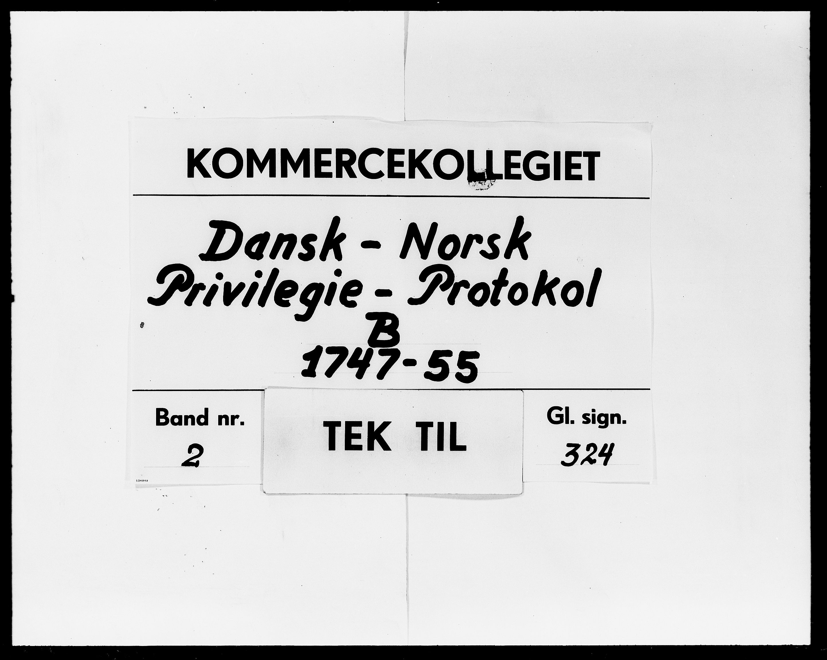 DRA, Kommercekollegiet, Dansk-Norske Sekretariat, -/21: Dansk-Norsk Privilegie-Protokol B, 1747-1755