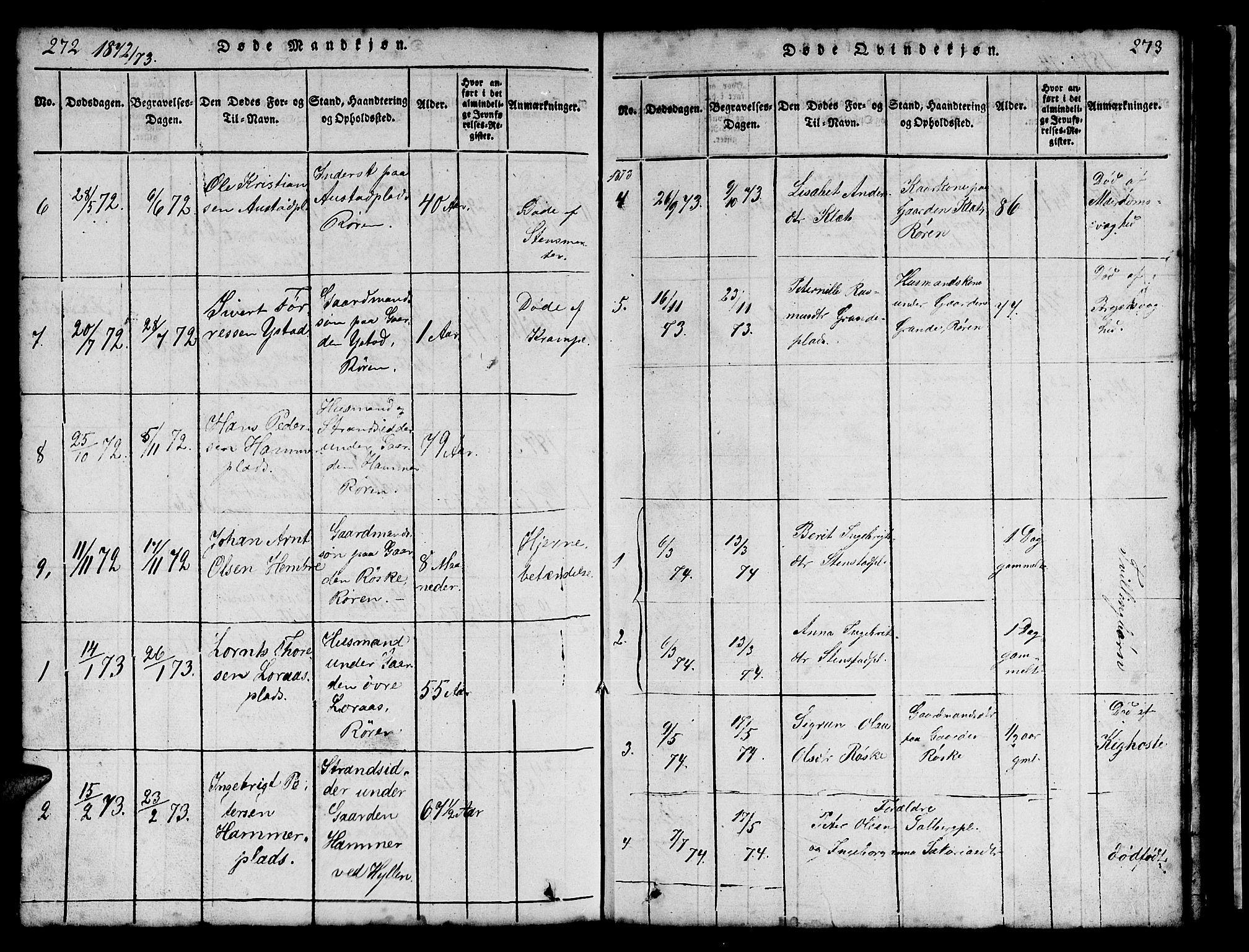 SAT, Ministerialprotokoller, klokkerbøker og fødselsregistre - Nord-Trøndelag, 731/L0310: Klokkerbok nr. 731C01, 1816-1874, s. 272-273