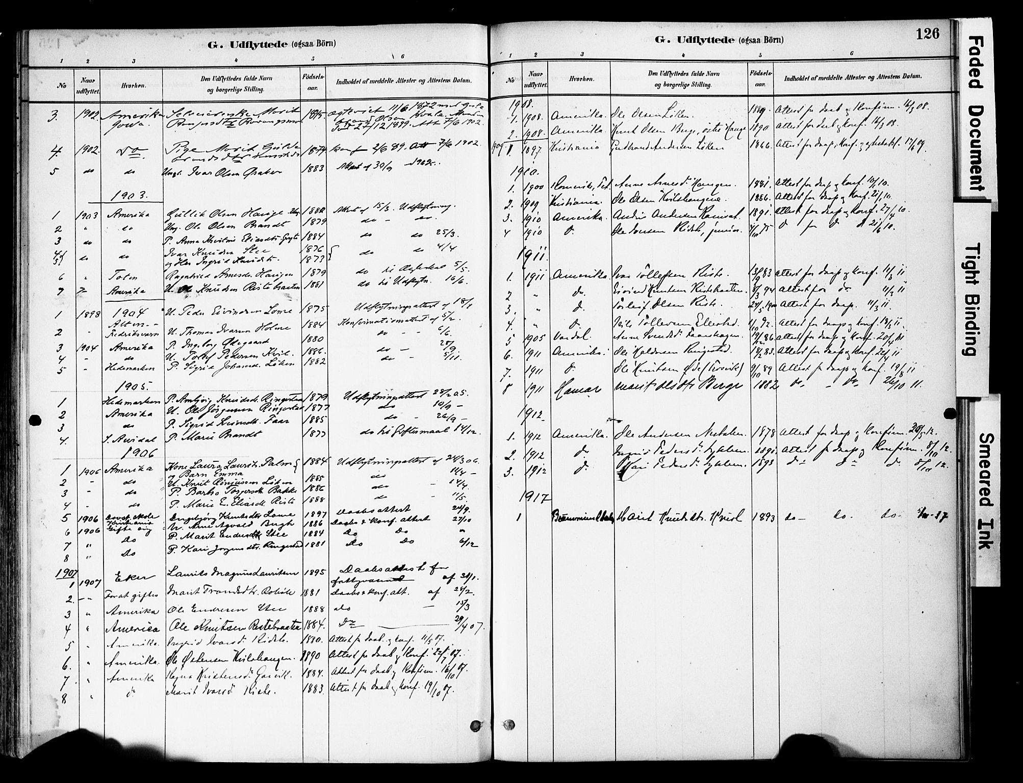 SAH, Vestre Slidre prestekontor, Ministerialbok nr. 5, 1881-1912, s. 126