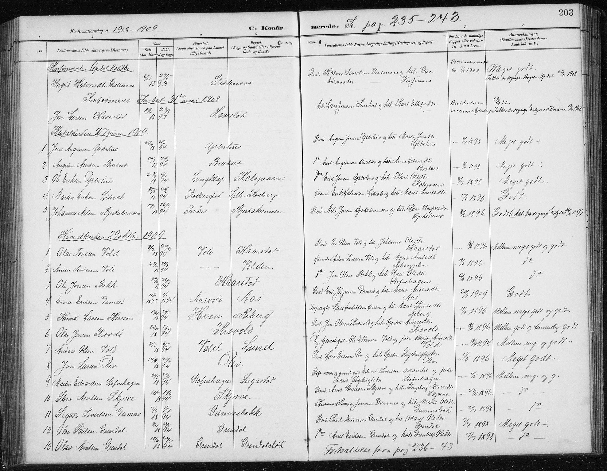 SAT, Ministerialprotokoller, klokkerbøker og fødselsregistre - Sør-Trøndelag, 674/L0876: Klokkerbok nr. 674C03, 1892-1912, s. 203