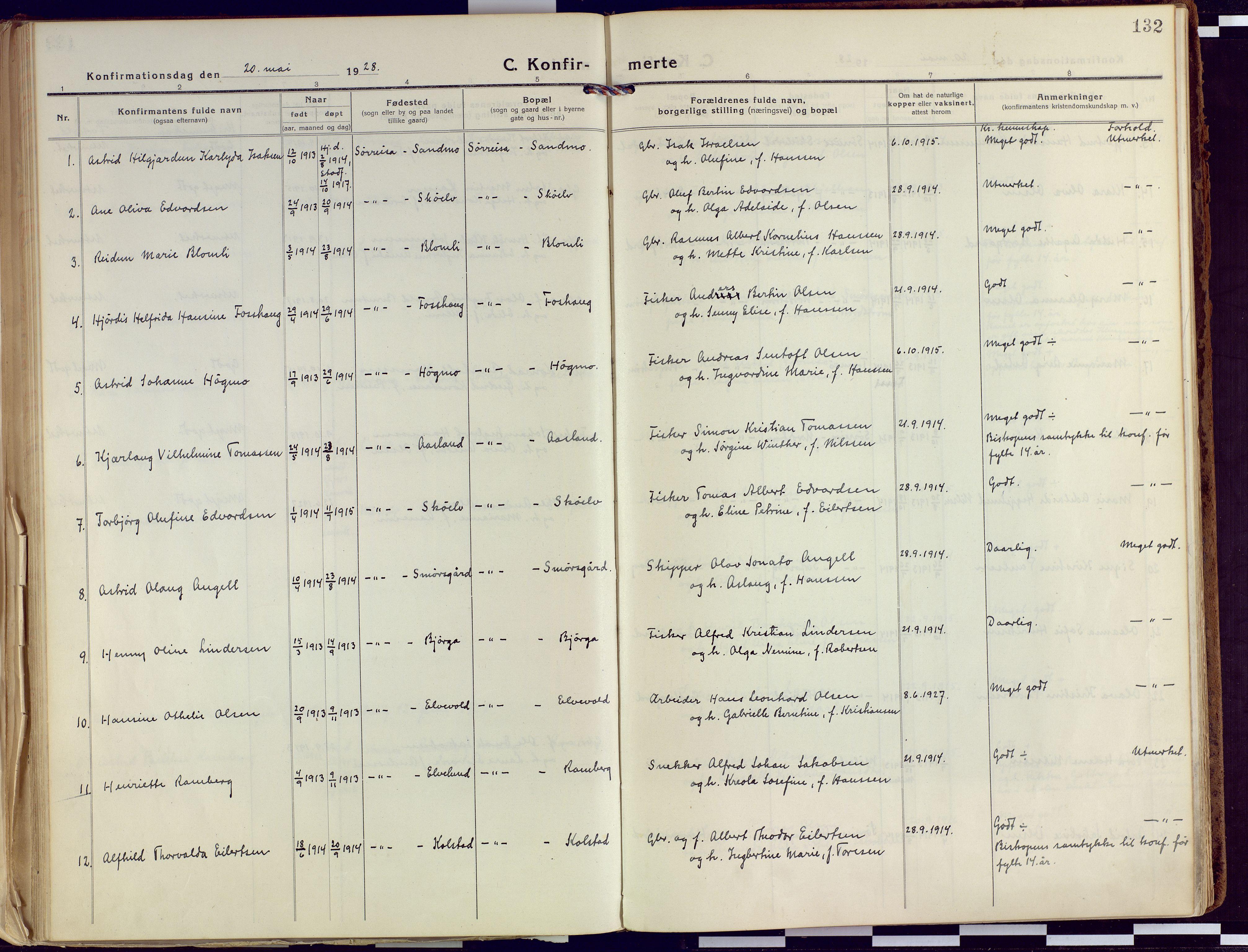 SATØ, Tranøy sokneprestkontor, I/Ia/Iaa/L0015kirke: Ministerialbok nr. 15, 1919-1928, s. 132