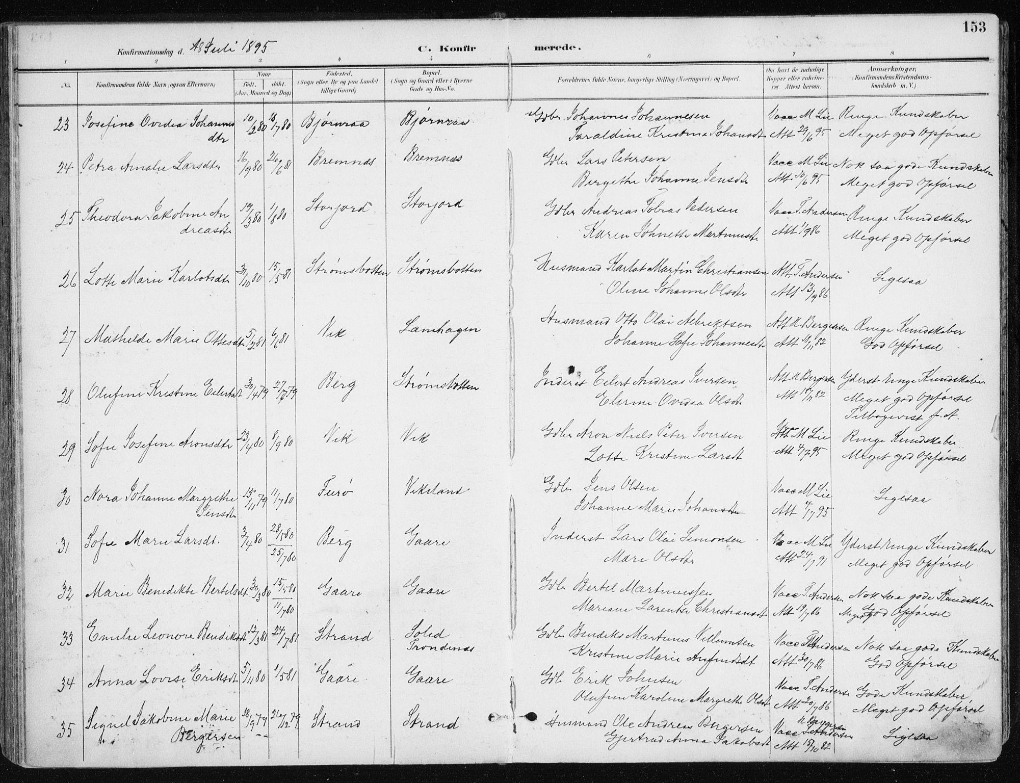 SATØ, Kvæfjord sokneprestkontor, G/Ga/Gaa/L0006kirke: Ministerialbok nr. 6, 1895-1914, s. 153