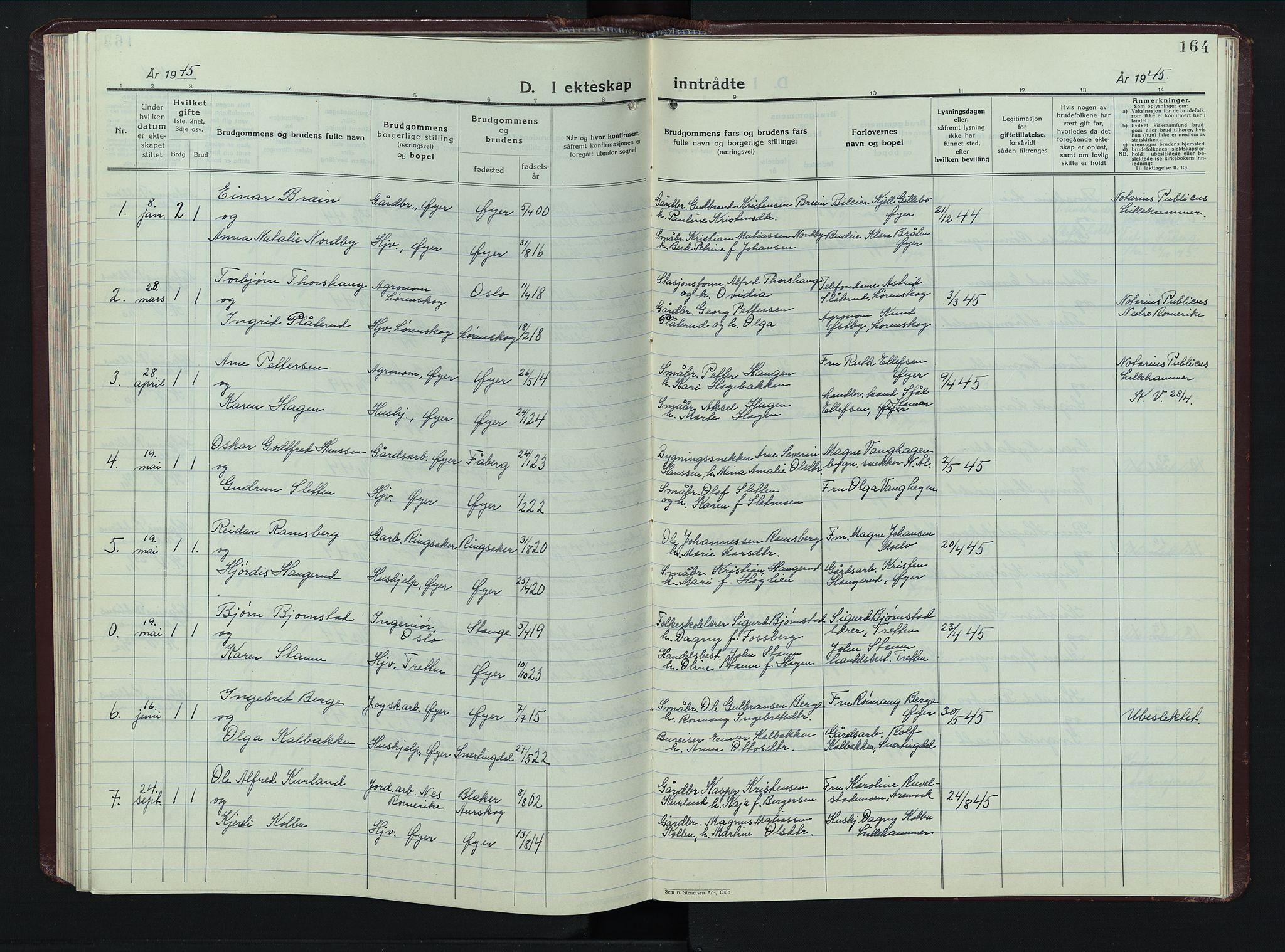SAH, Øyer prestekontor, Klokkerbok nr. 8, 1929-1947, s. 164