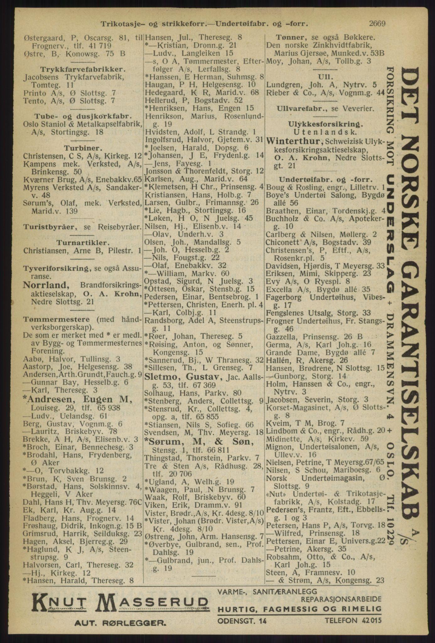 RA, Oslo adressebok (publikasjon)*, 1936, s. 2669