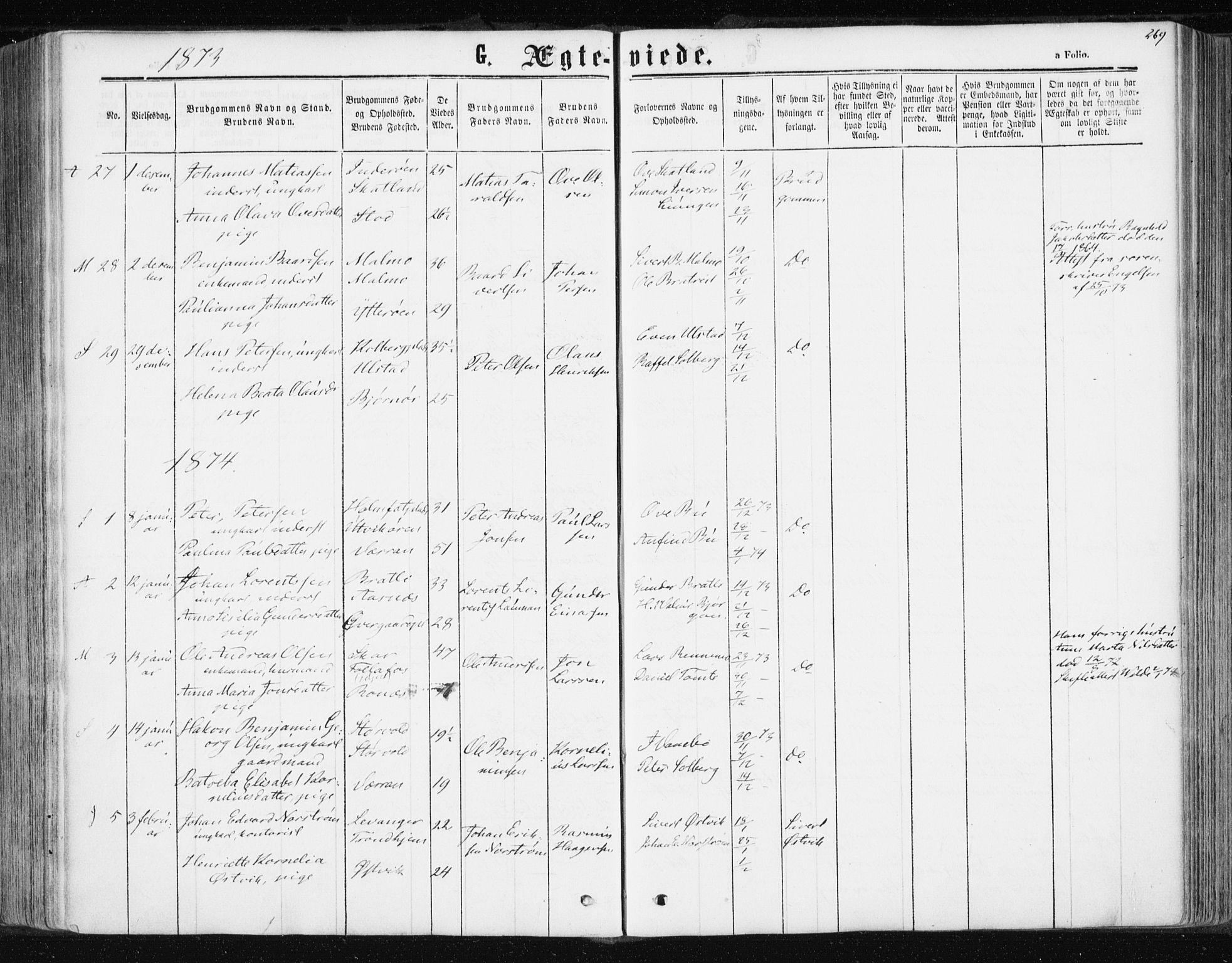 SAT, Ministerialprotokoller, klokkerbøker og fødselsregistre - Nord-Trøndelag, 741/L0394: Ministerialbok nr. 741A08, 1864-1877, s. 269