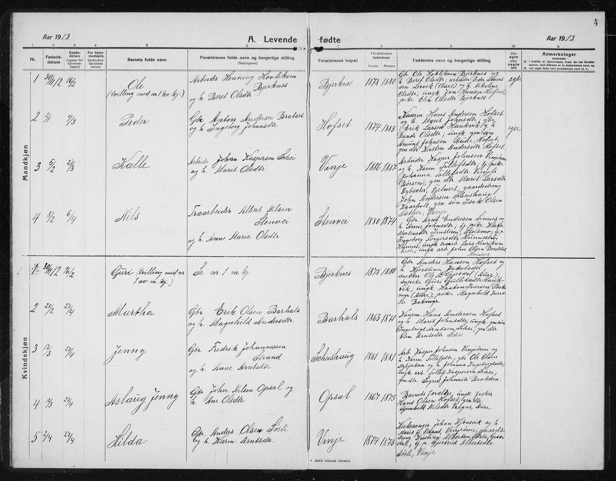 SAT, Ministerialprotokoller, klokkerbøker og fødselsregistre - Sør-Trøndelag, 631/L0515: Klokkerbok nr. 631C03, 1913-1939, s. 4