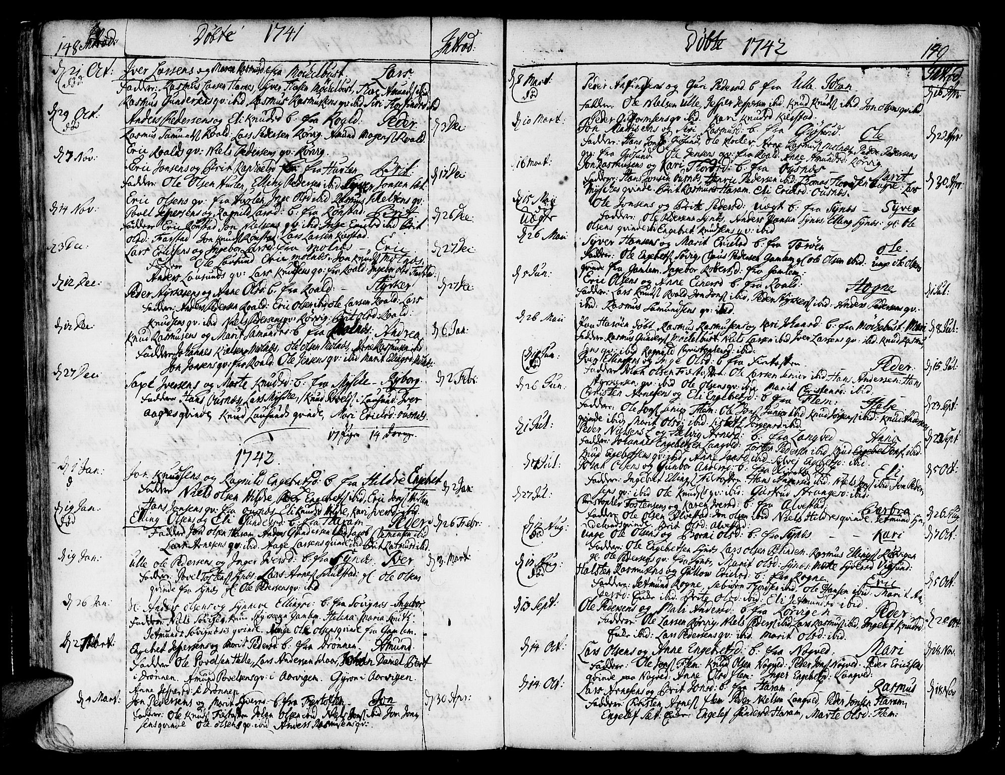 SAT, Ministerialprotokoller, klokkerbøker og fødselsregistre - Møre og Romsdal, 536/L0493: Ministerialbok nr. 536A02, 1739-1802, s. 148-149
